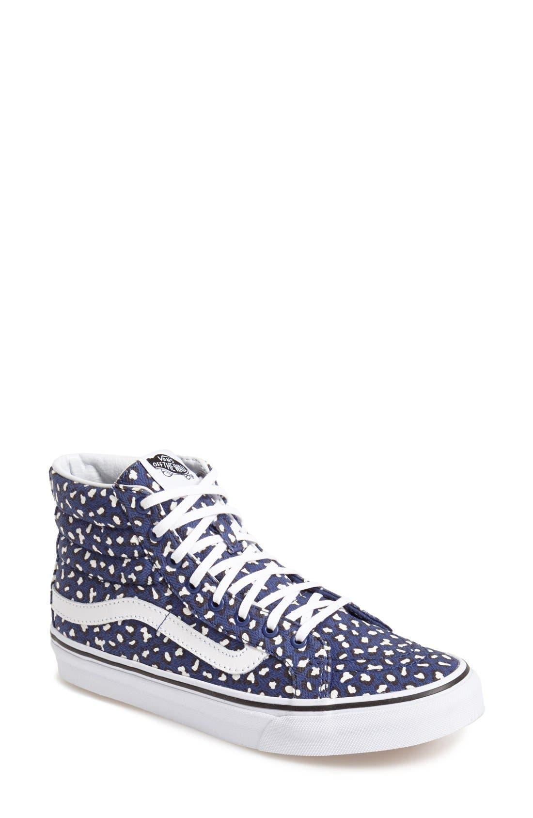 Alternate Image 1 Selected - Vans 'Herringbone Leopard - Sk8-Hi Slim' Sneaker (Women)
