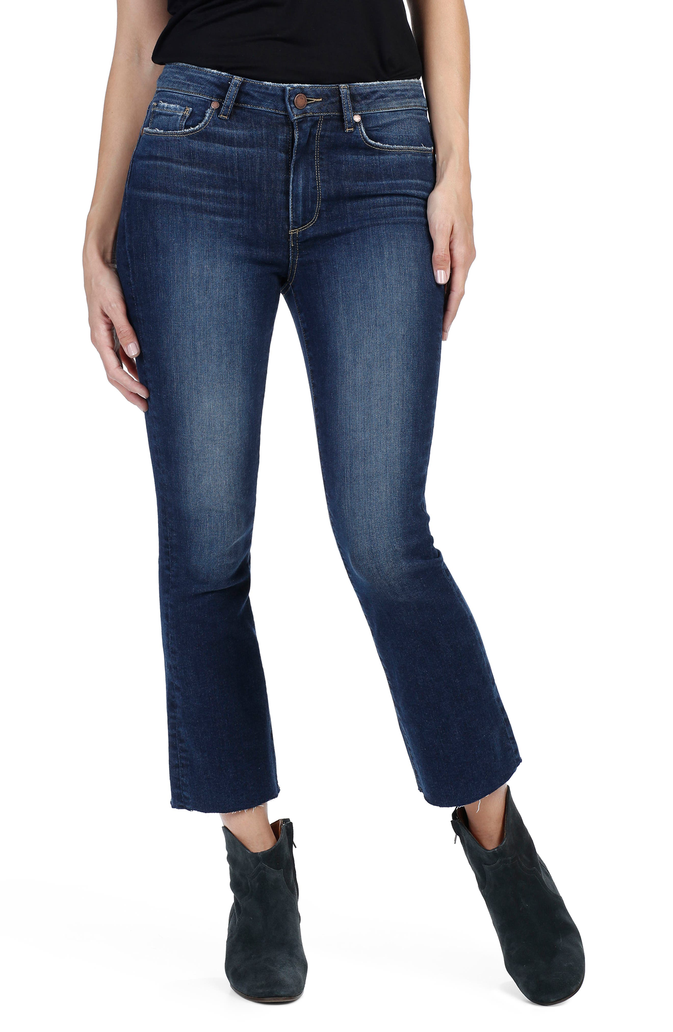 PAIGE Colette High Rise Raw Hem Crop Flare Jeans
