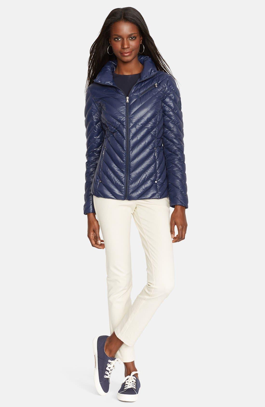 Alternate Image 1 Selected - Lauren Ralph Lauren Chevron Quilted Down Jacket