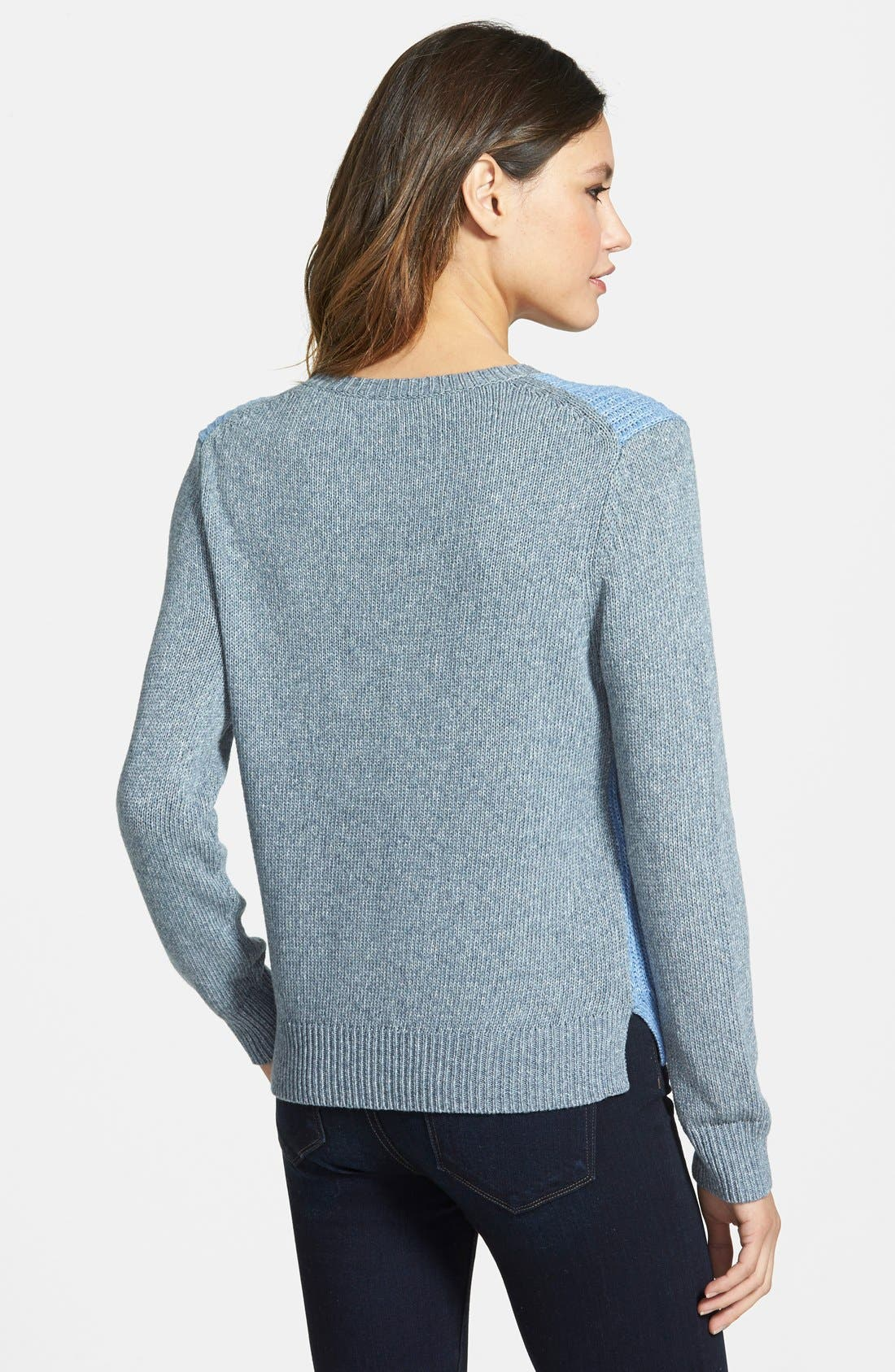 Alternate Image 2  - Nordstrom Collection Colorblock Ribbed Crewneck Sweater