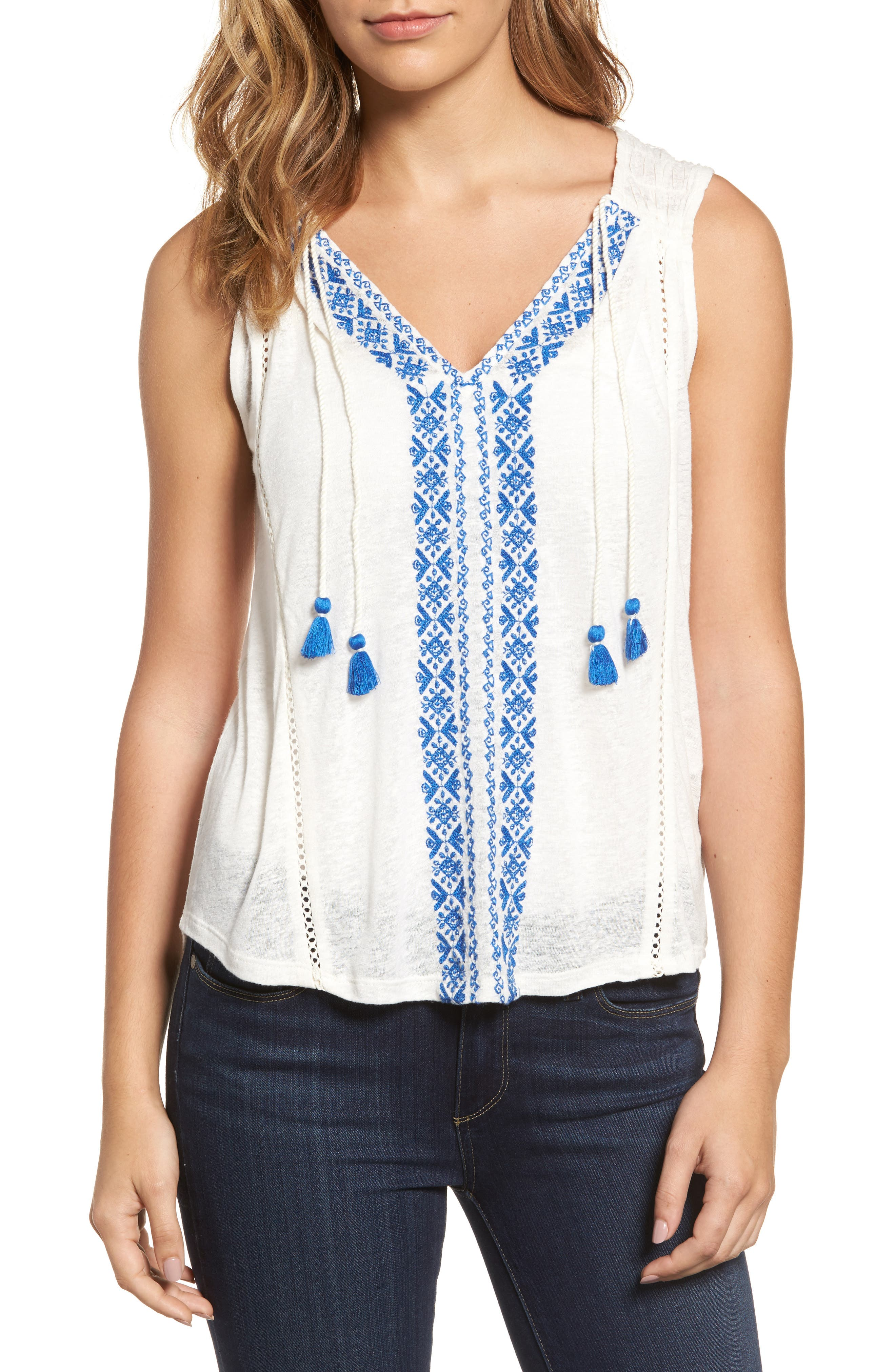 Lucky Brand Embroidered Front Top