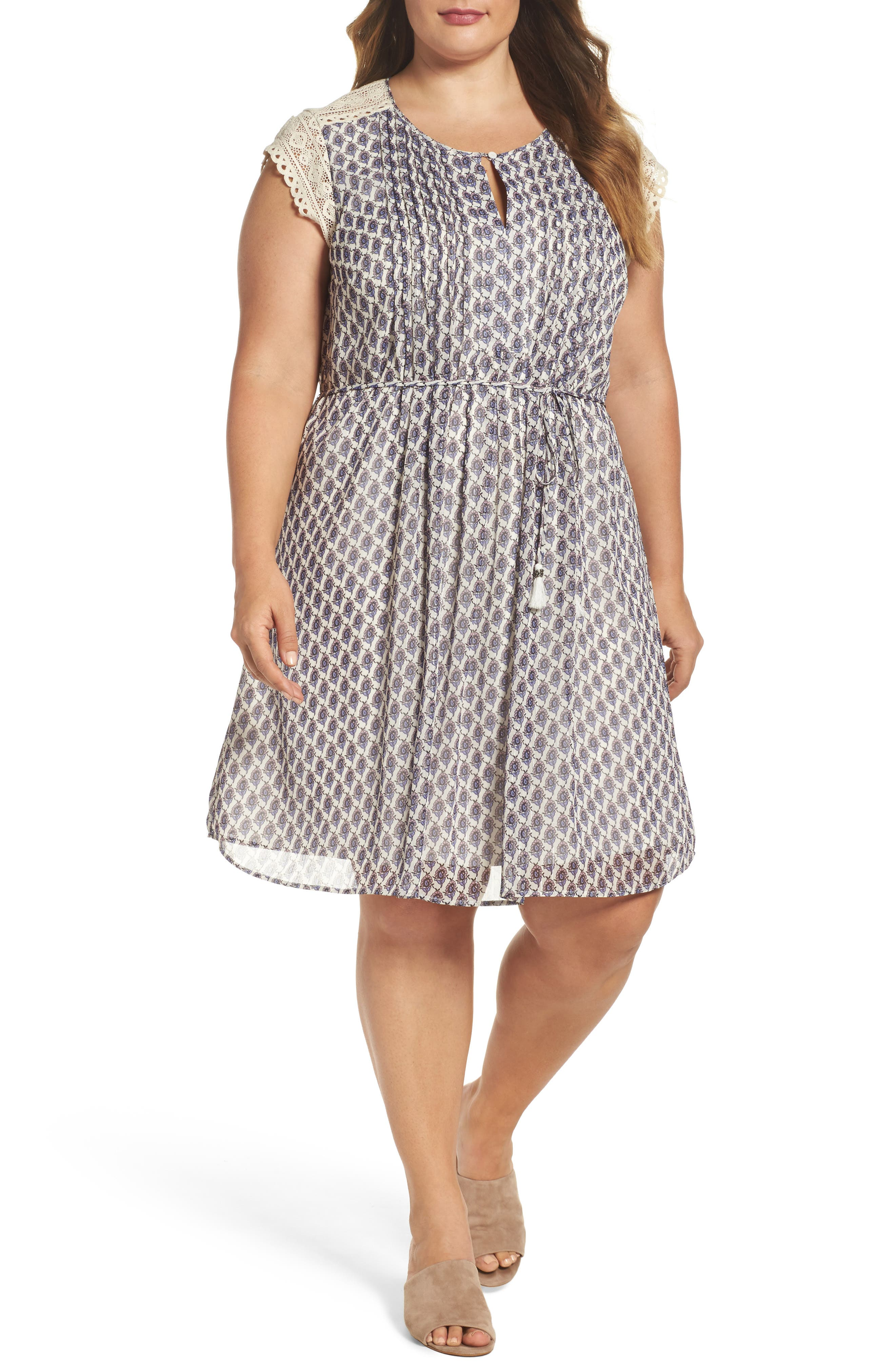 Daniel Rainn Lace Sleeve Print Dress (Plus Size)