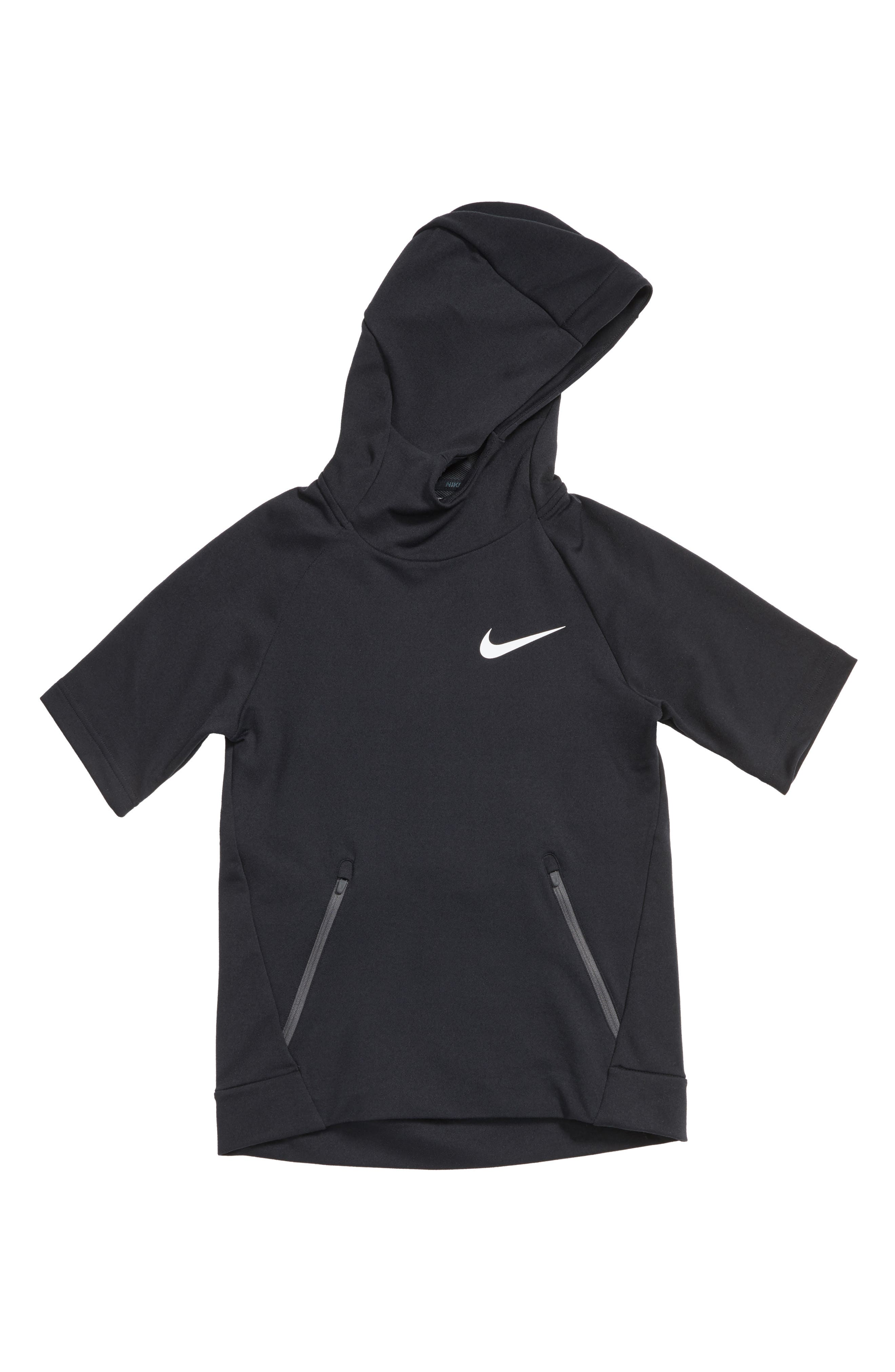 Nike Dry Hyper Fleece Short Sleeve Hoodie (Little Boys & Big Boys)