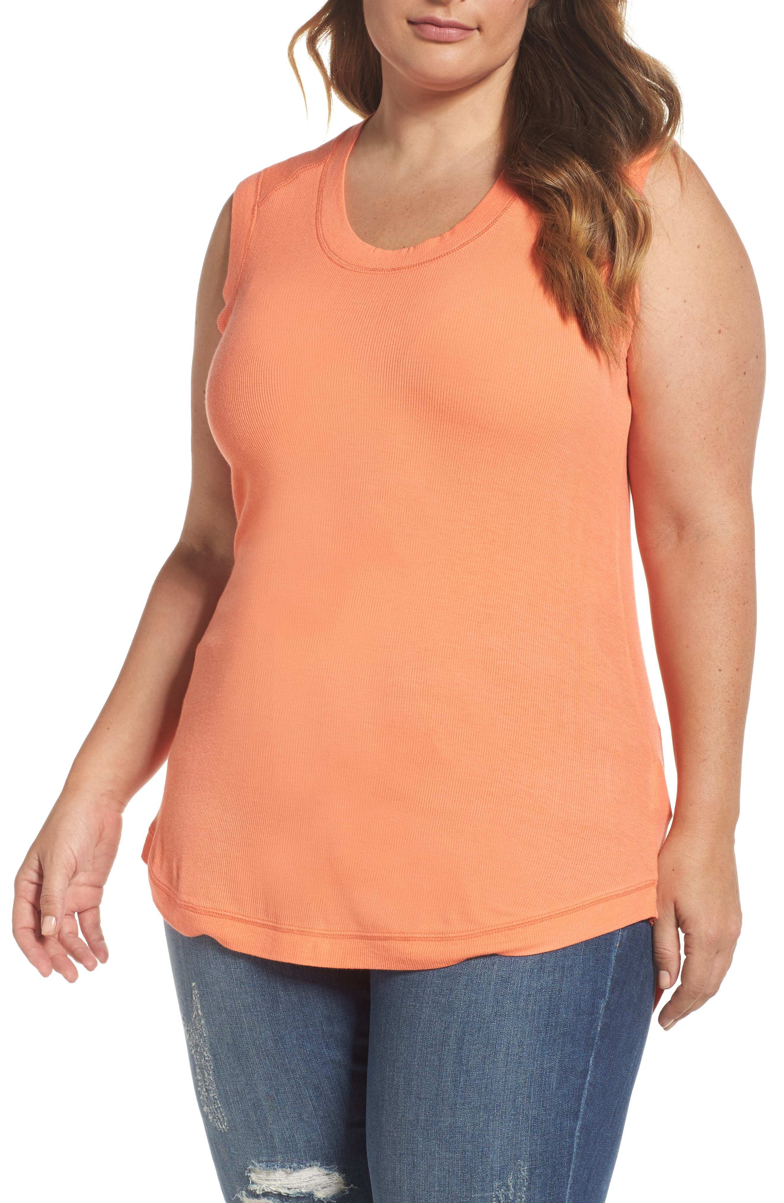 Melissa McCarthy Seven7 Ribbed Tank (Plus Size)