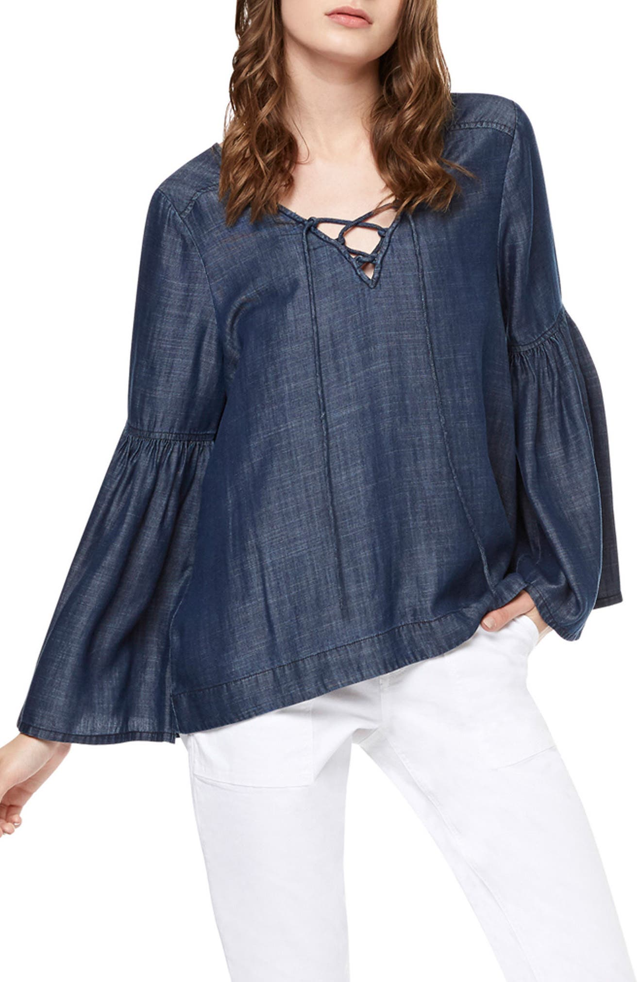 Sanctuary Lace-Up Chambray Top