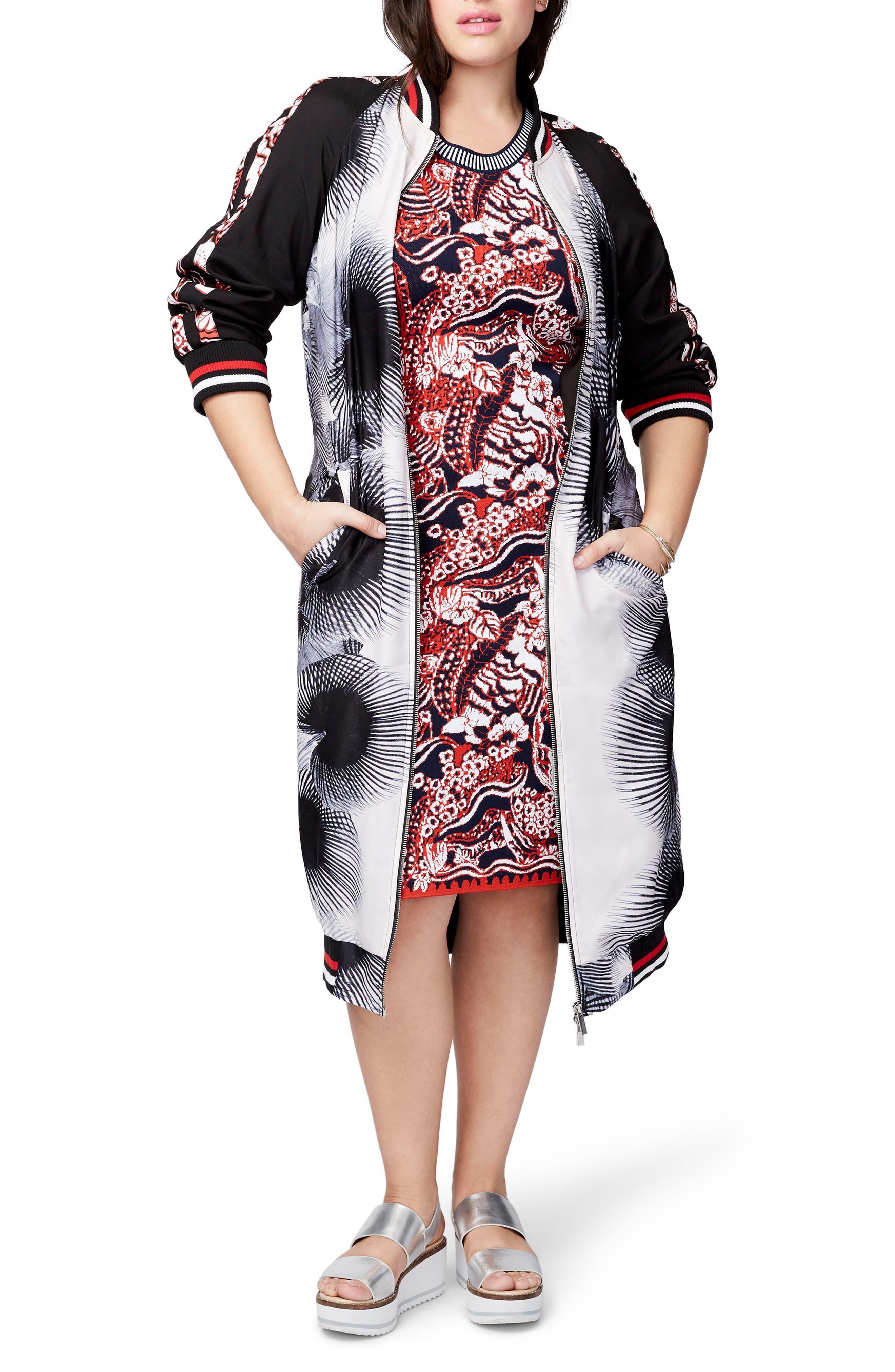 RACHEL Rachel Roy Mix Print Duster Bomber (Plus Size)