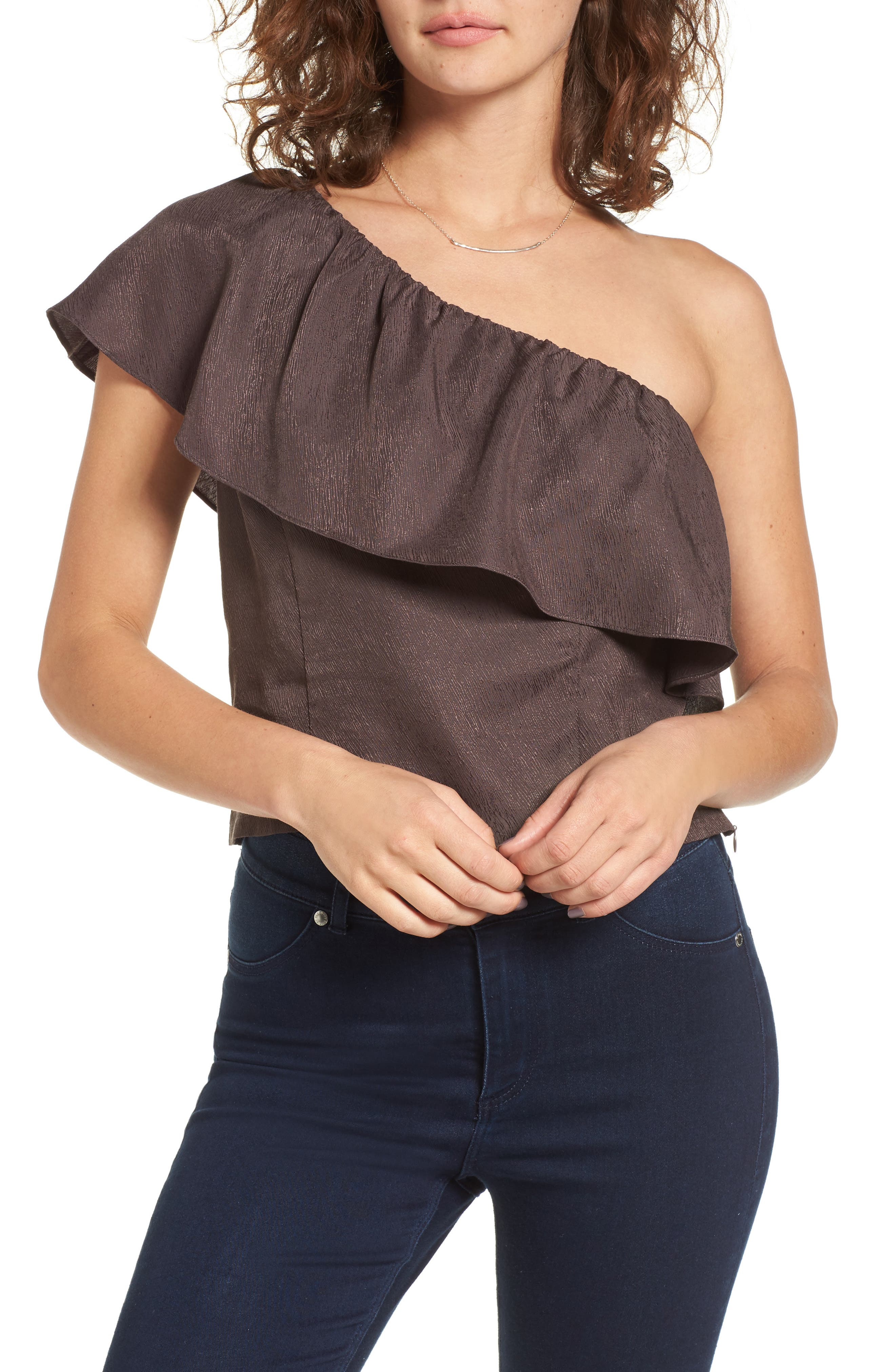 ASTR the Label Ruffle One-Shoulder Top