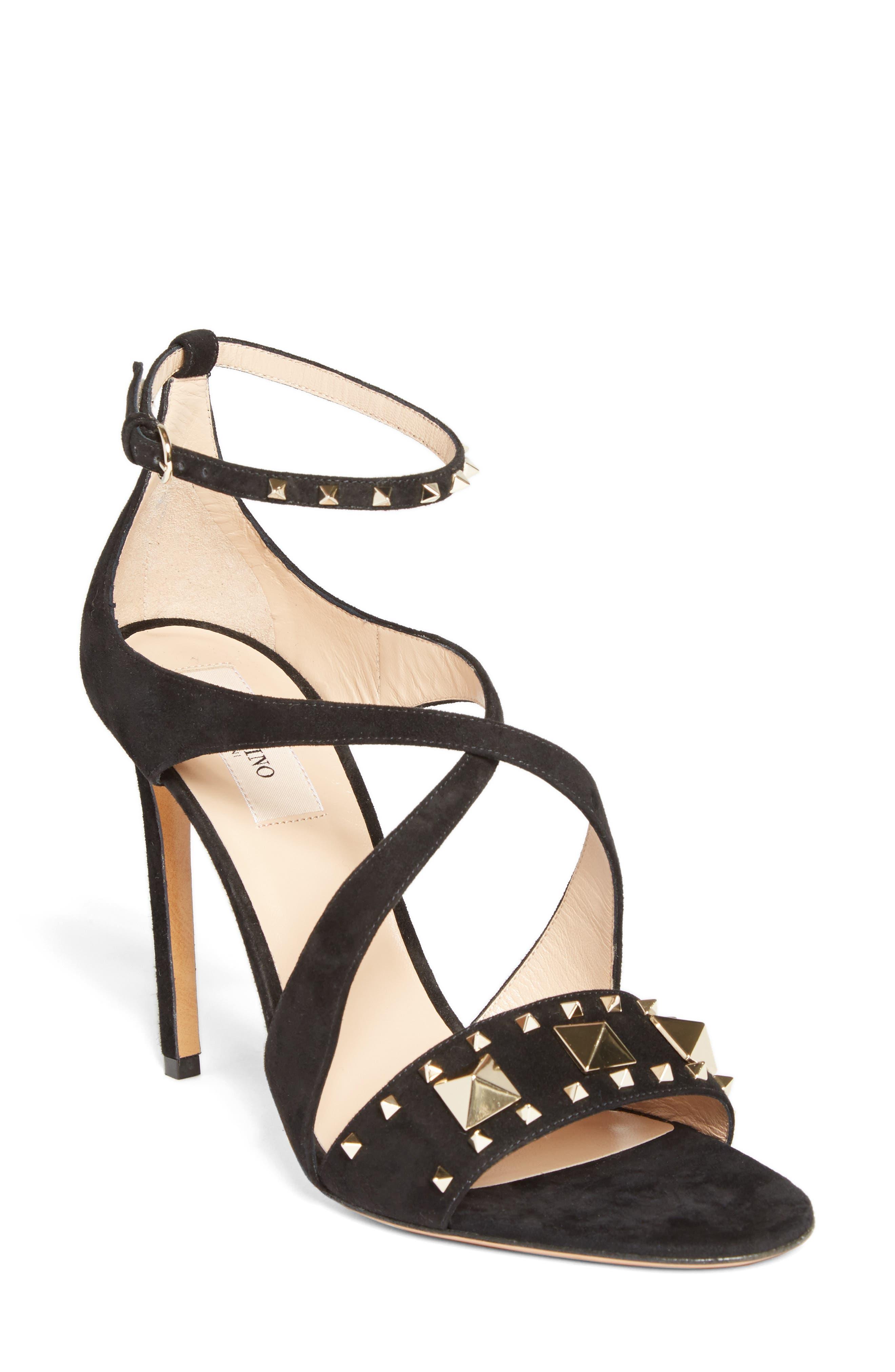 Valentino Cross Strap Rockstud Sandal (Women)