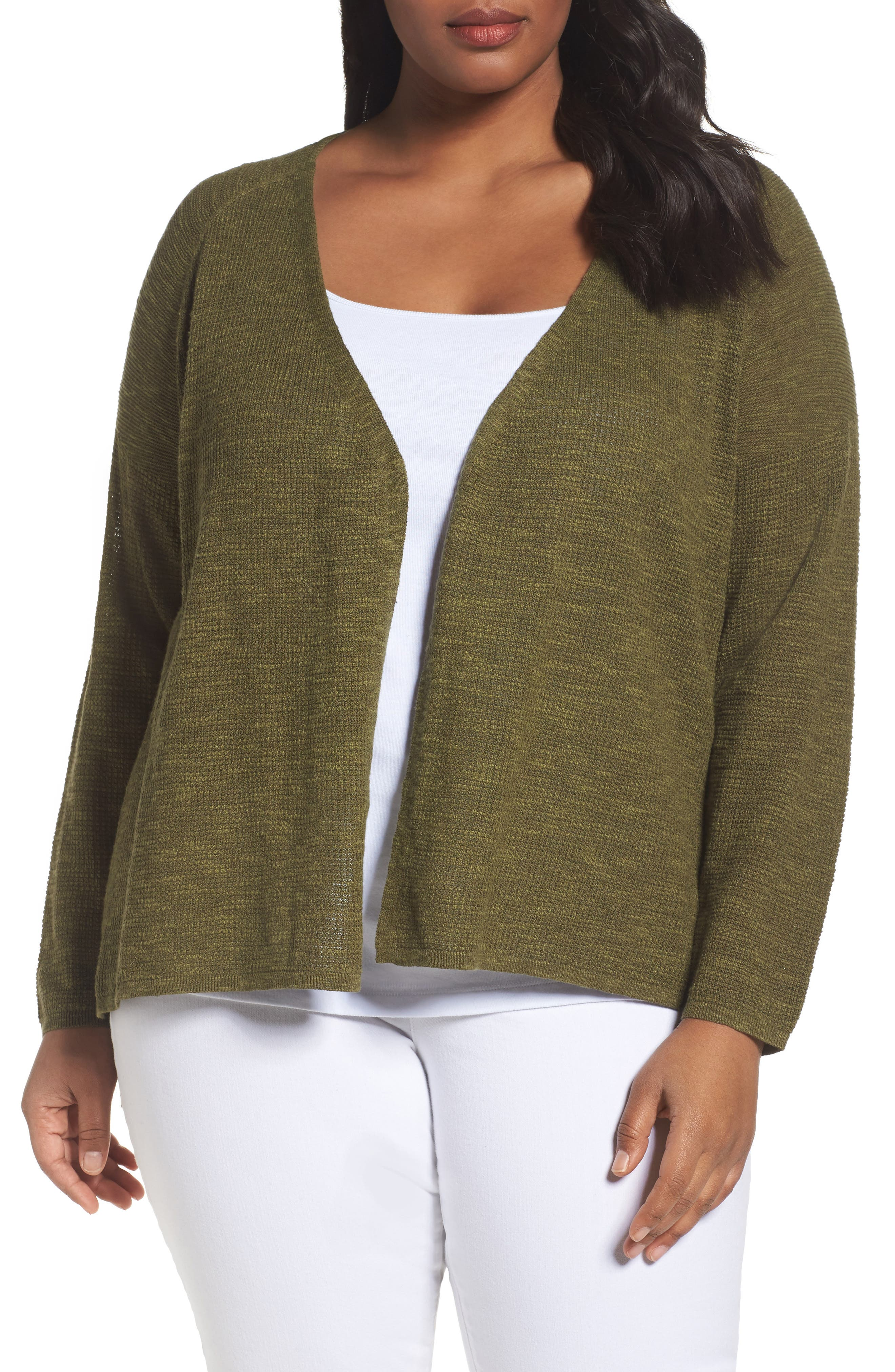 Eileen Fisher Organic Linen & Cotton Cardigan (Plus Size)