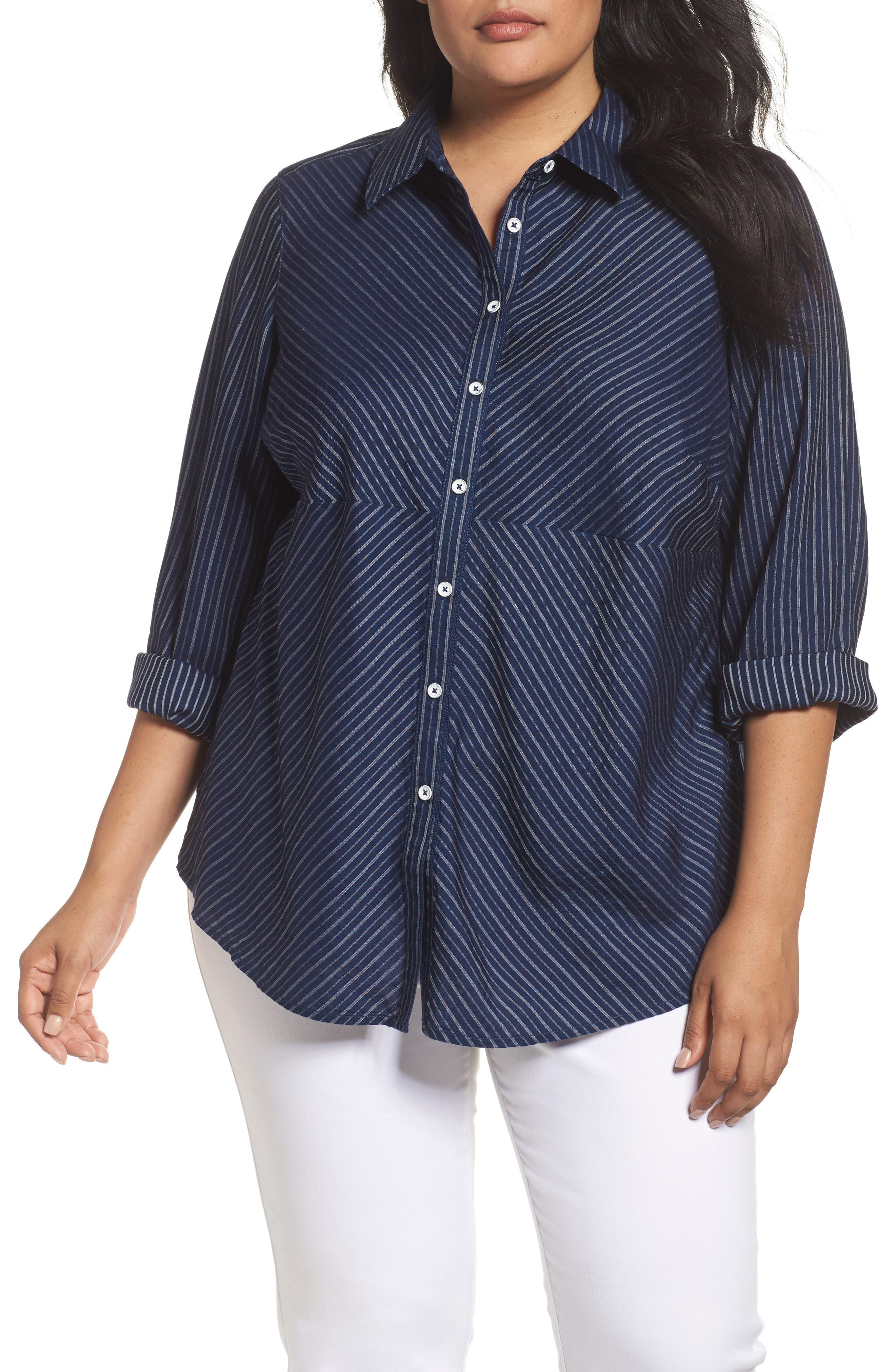 Foxcroft Hazel Pinstripe Shirt (Plus Size)