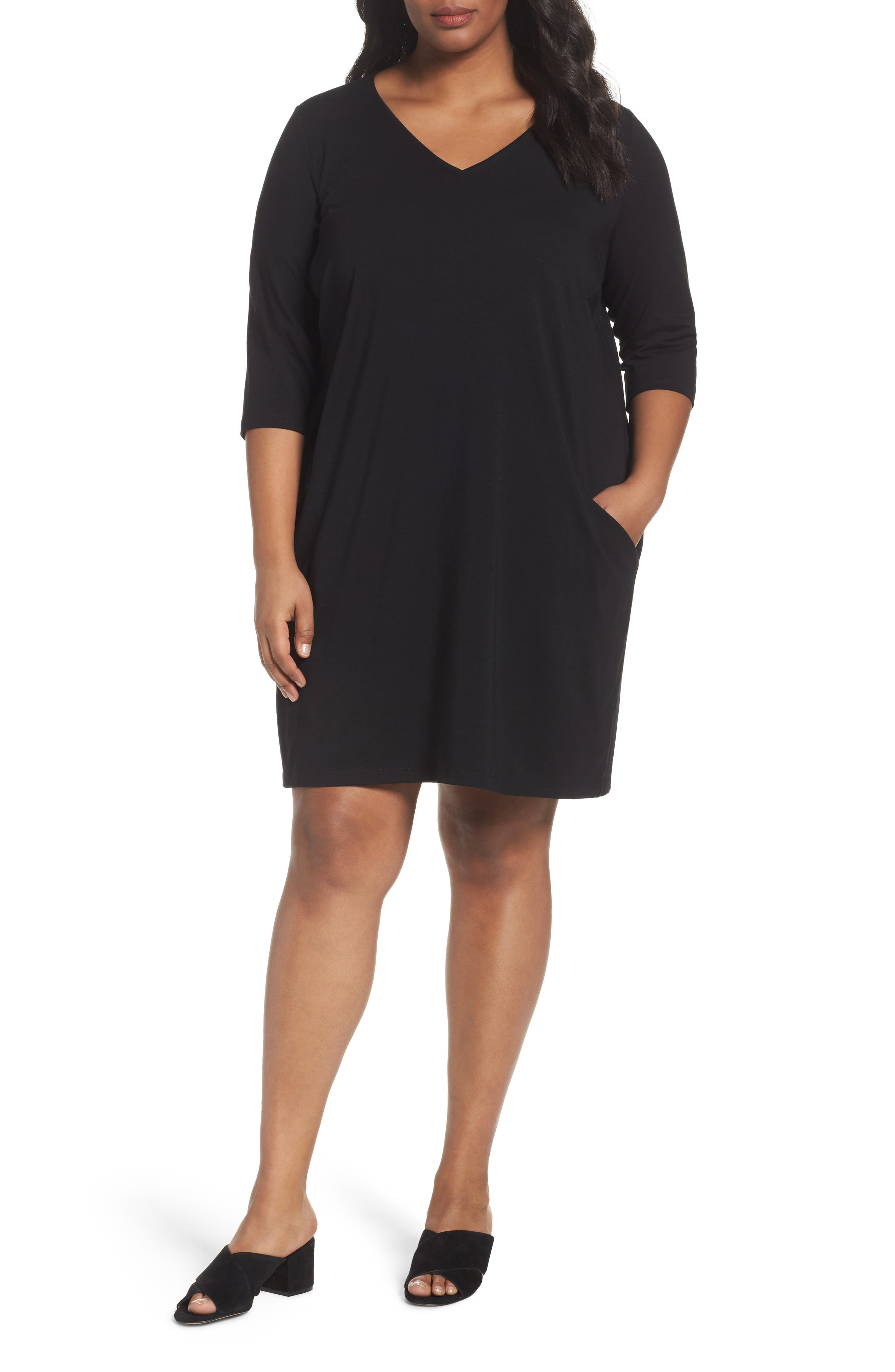 Eileen Fisher Organic Cotton Jersey Shift Dress (Plus Size)