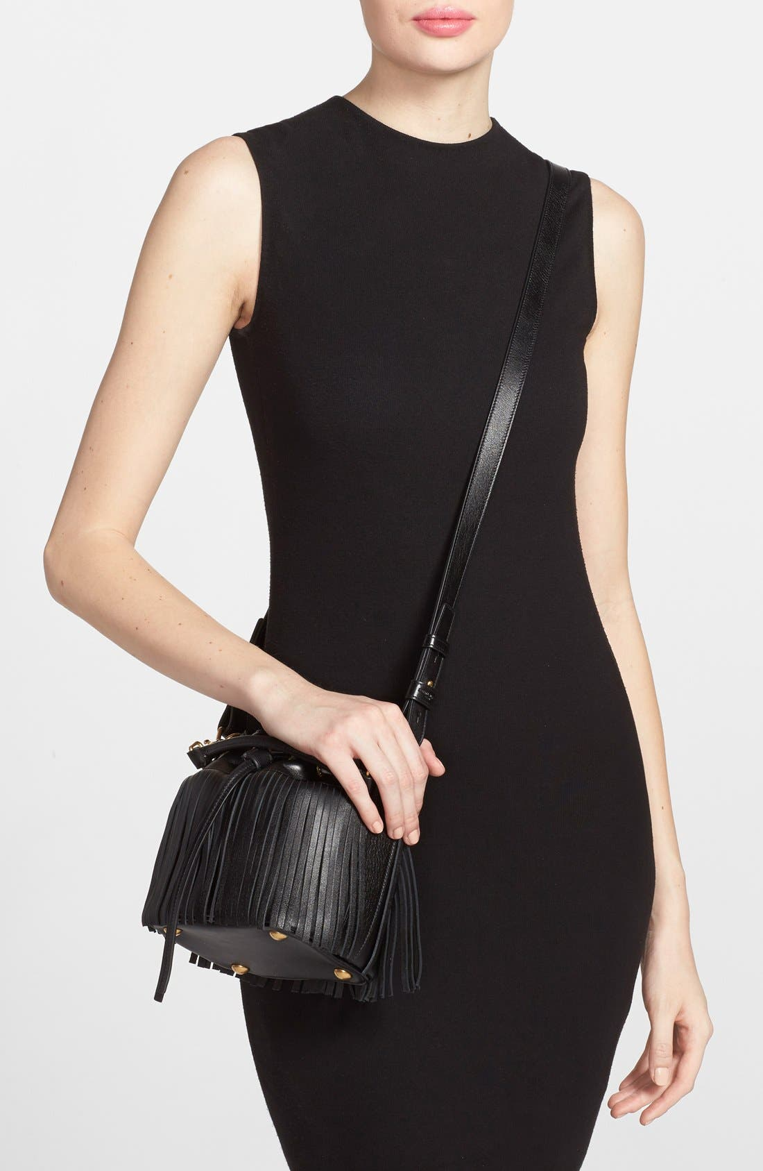 Alternate Image 2  - Saint Laurent Fringe Calfskin Bucket Bag