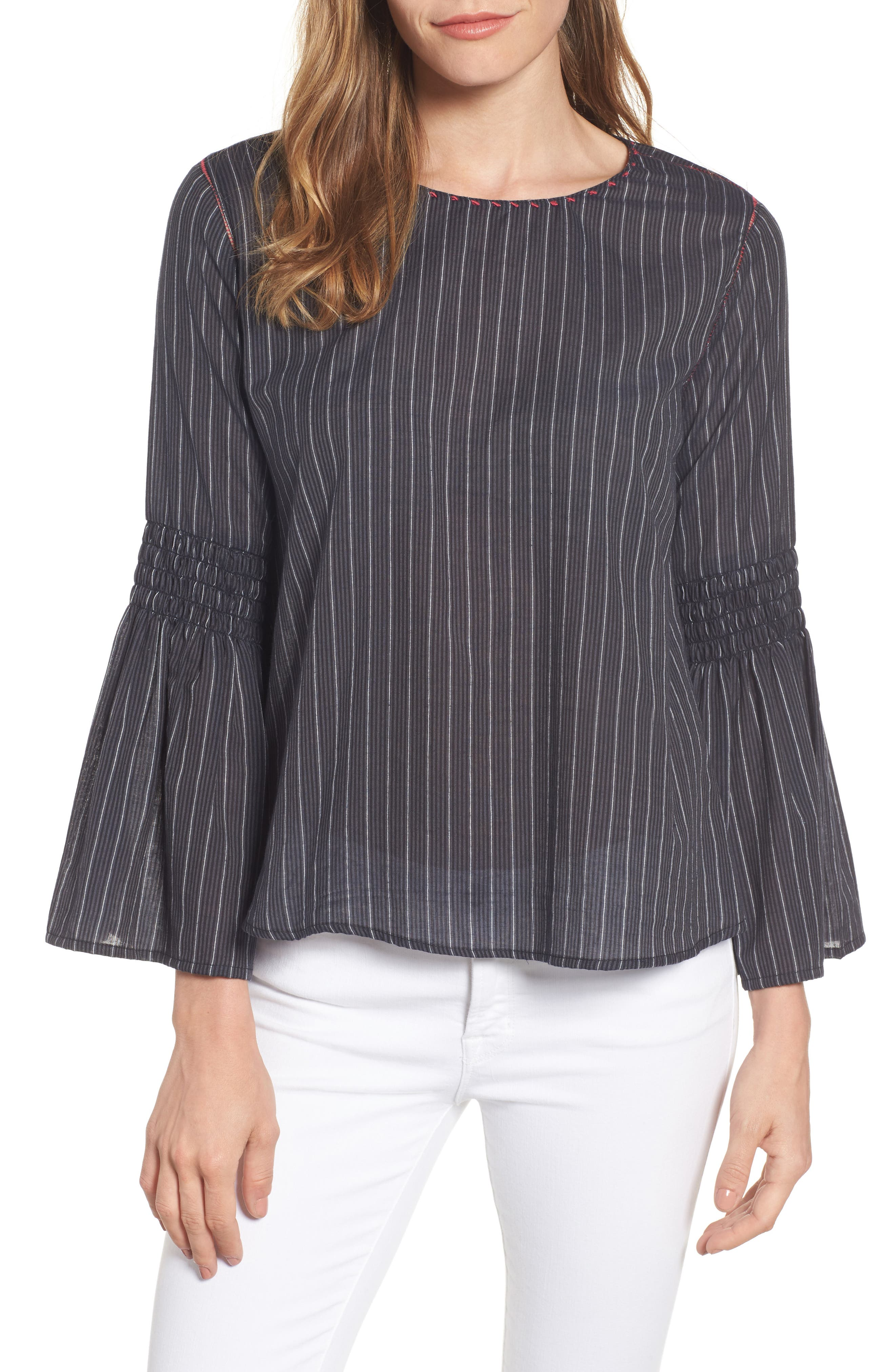 Velvet by Graham & Spencer Taj Stripe Bell Sleeve Top