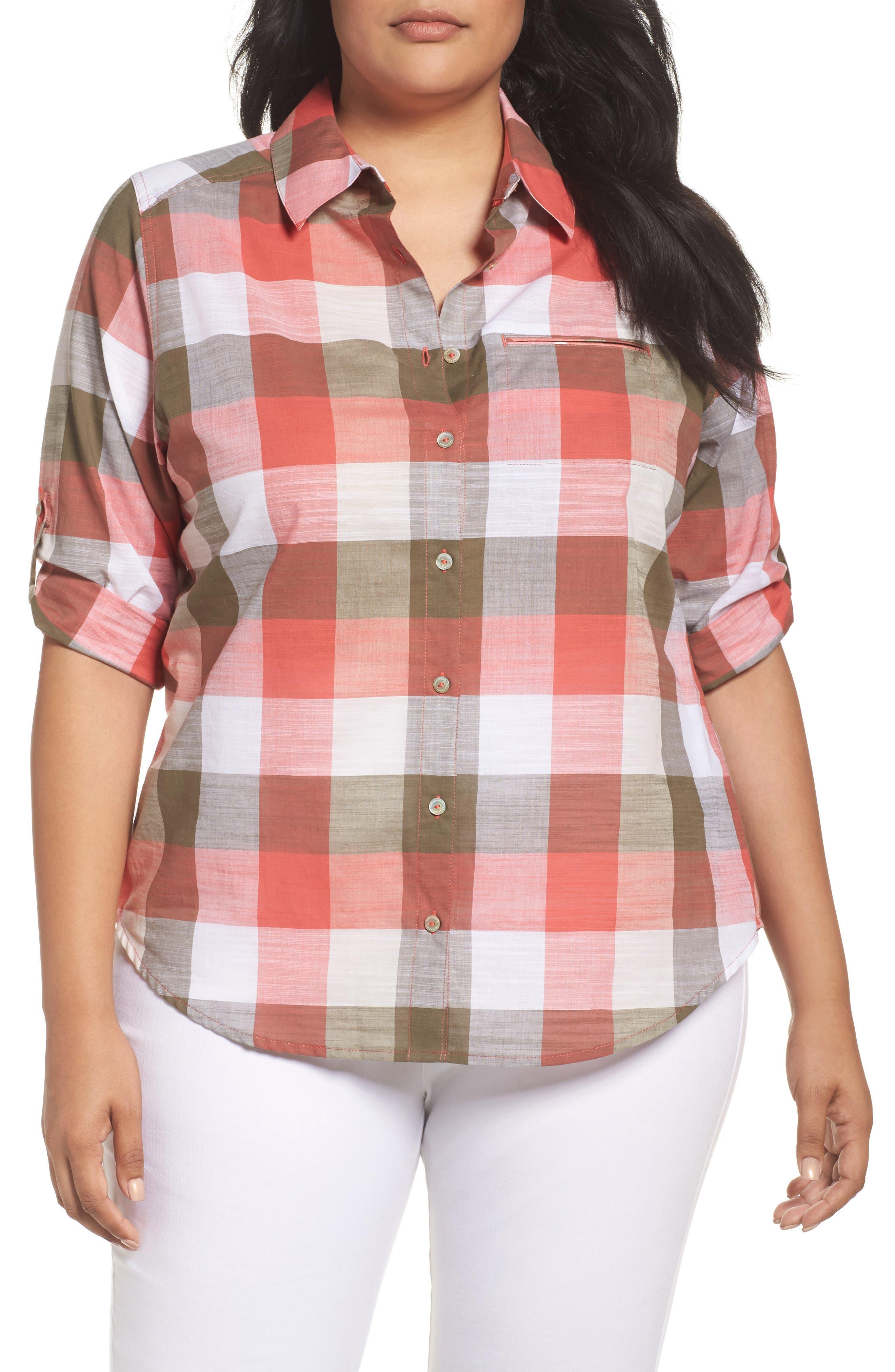 Foxcroft Reese Buffalo Check Shirt (Plus Size)