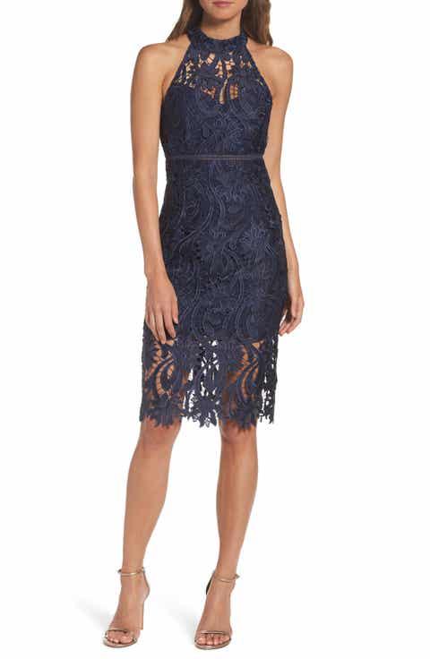 Bardot Isa Lace Halter Dress