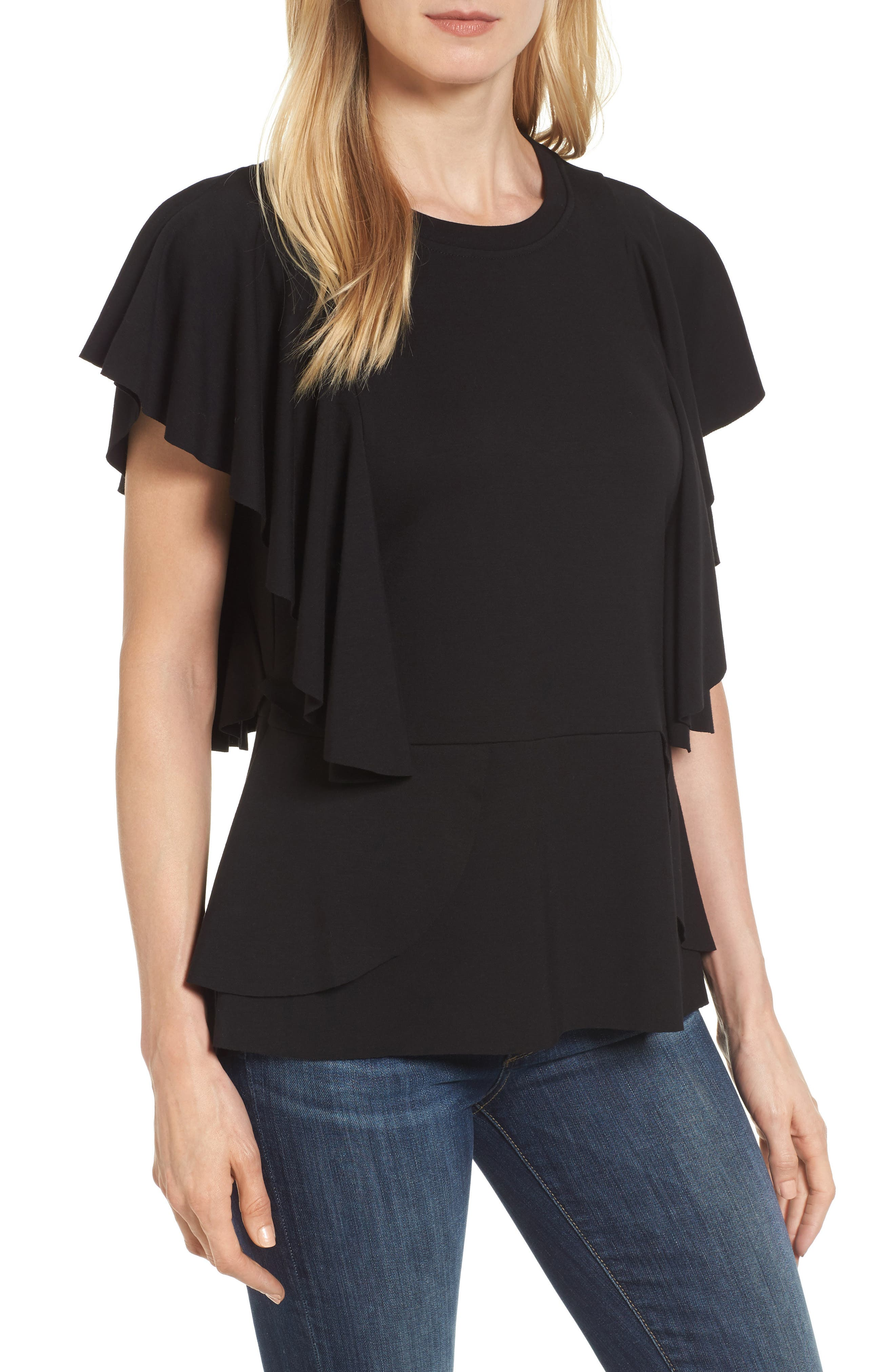 Halogen® Ruffle Peplum Top (Regular & Petite)