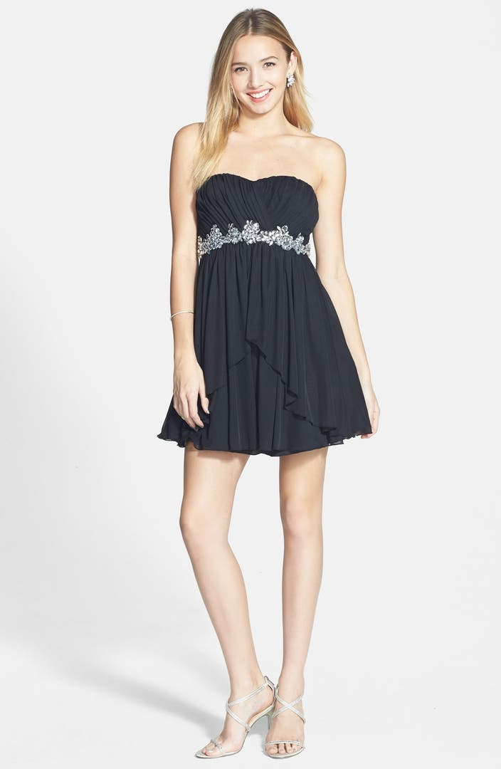 Speechless Embellished Strapless Party Dress (Juniors ...