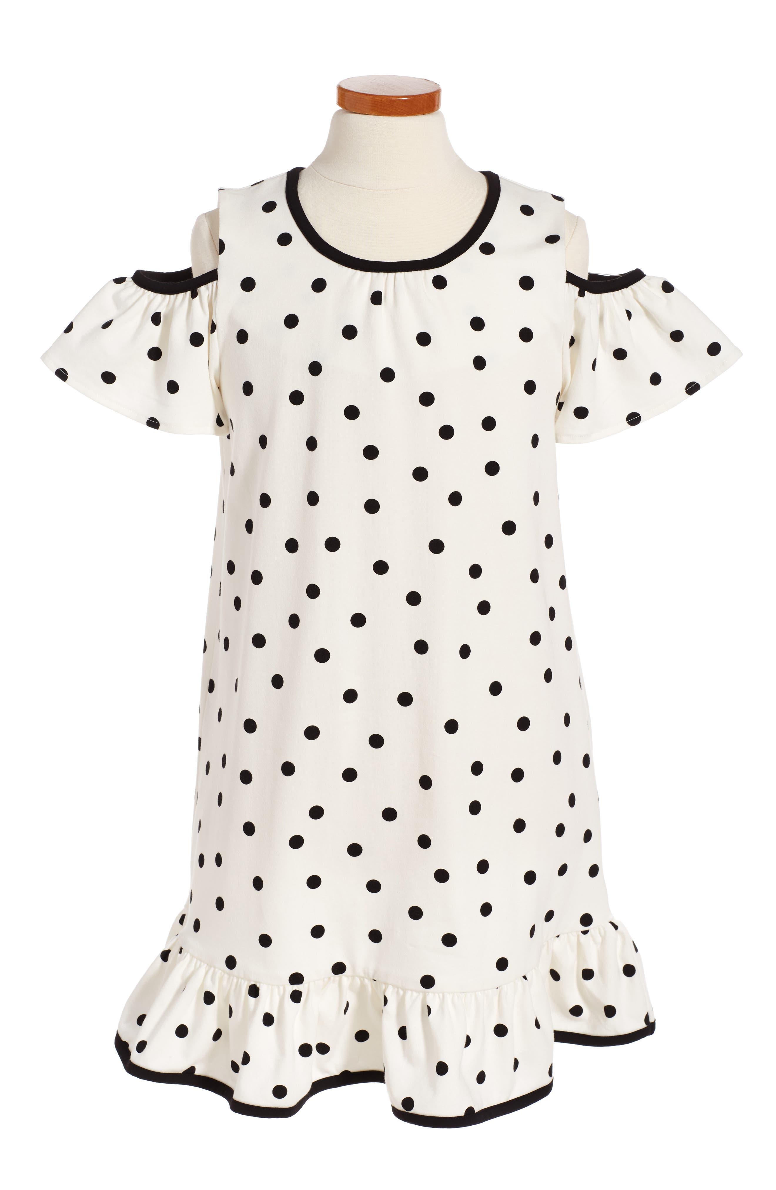kate spade new york polka dot cold shoulder dress (Big Girls)