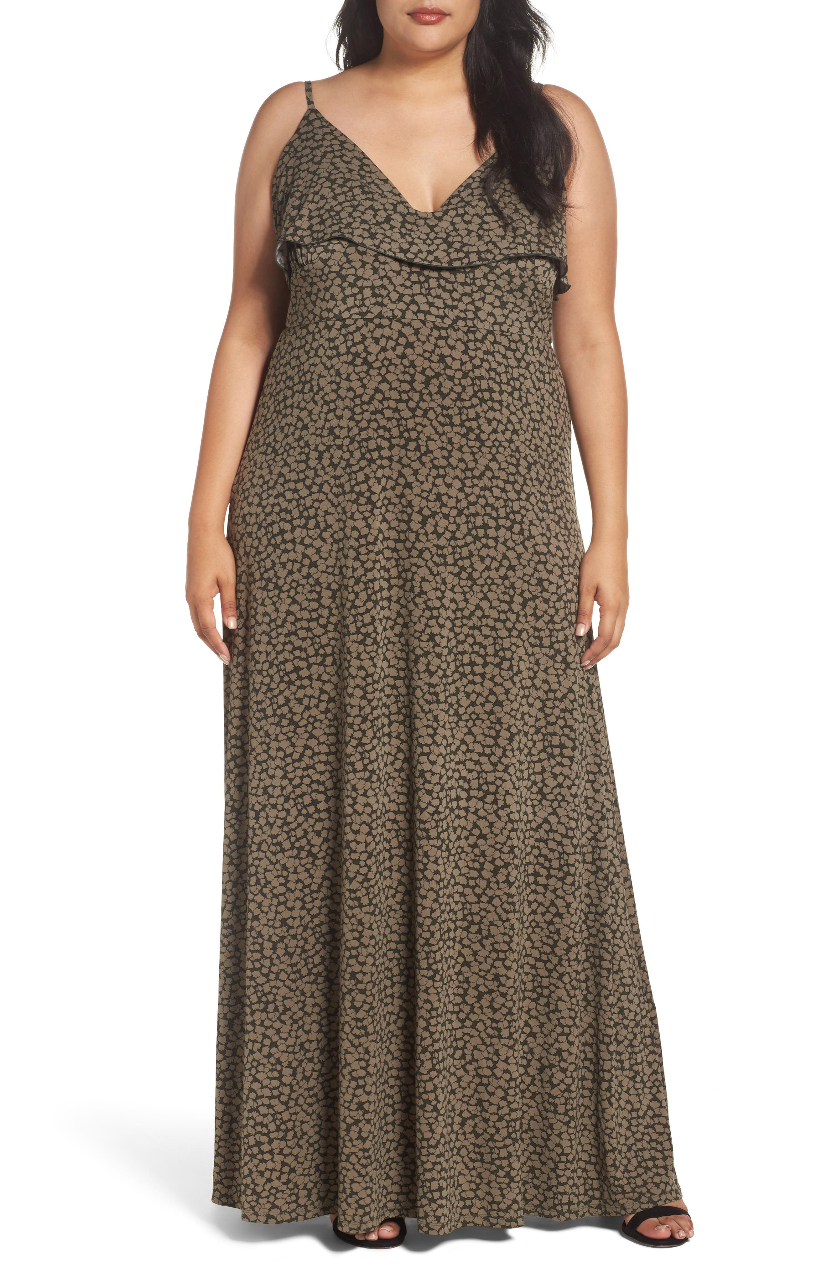 MICHAEL Michael Kors Finley Flounce Maxi Dress (Plus Size)