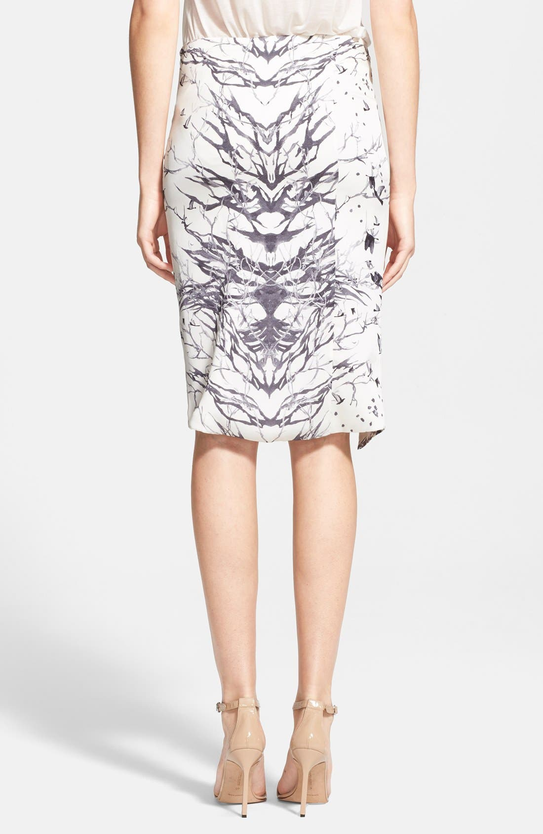 Alternate Image 2  - Haute Hippie Bird & Branch Print Slit Silk Pencil Skirt