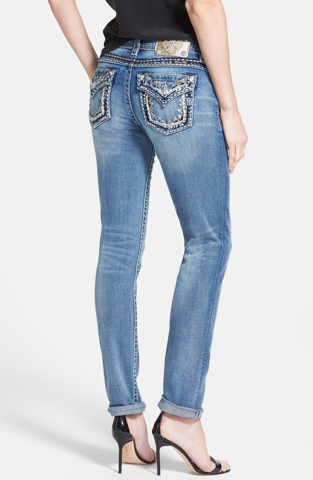 Alternate Image 2  - Miss Me Flap Pocket Distressed Skinny Boyfriend Jeans (Medium Blue)
