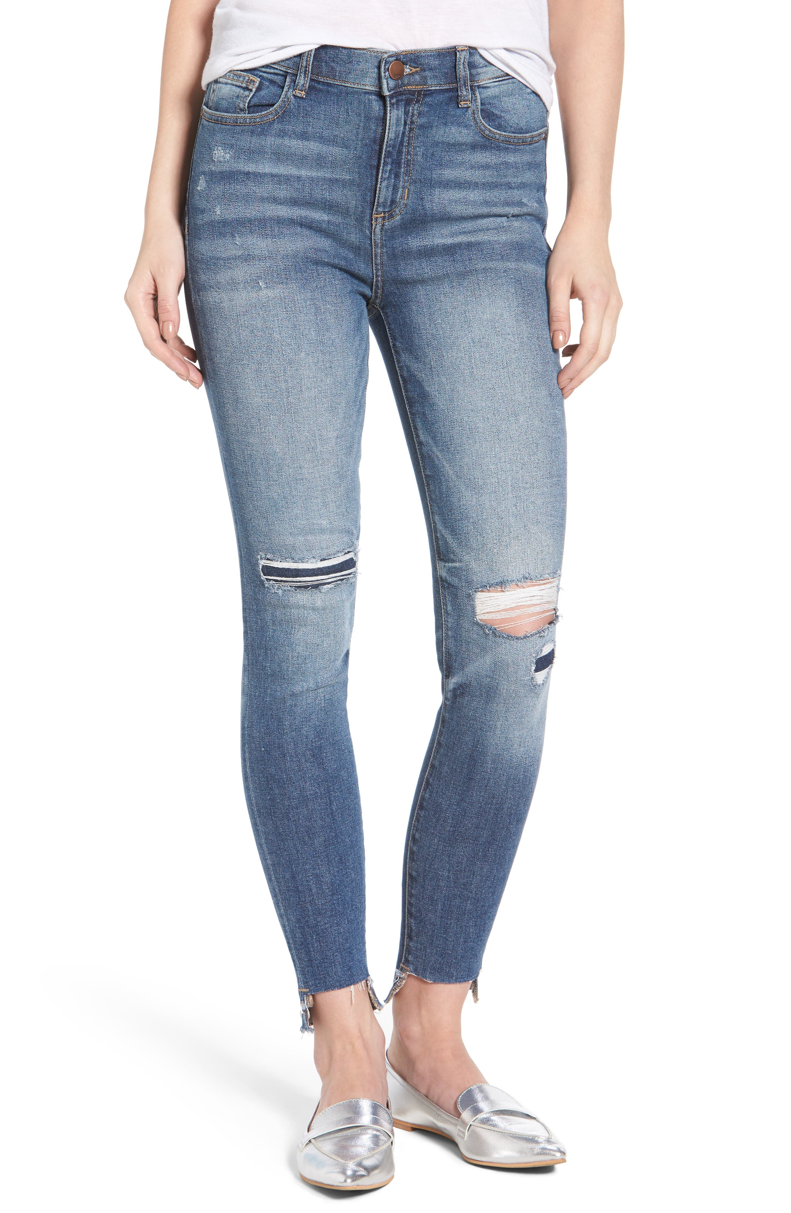 SP Black Step Hem Ripped Skinny Jeans
