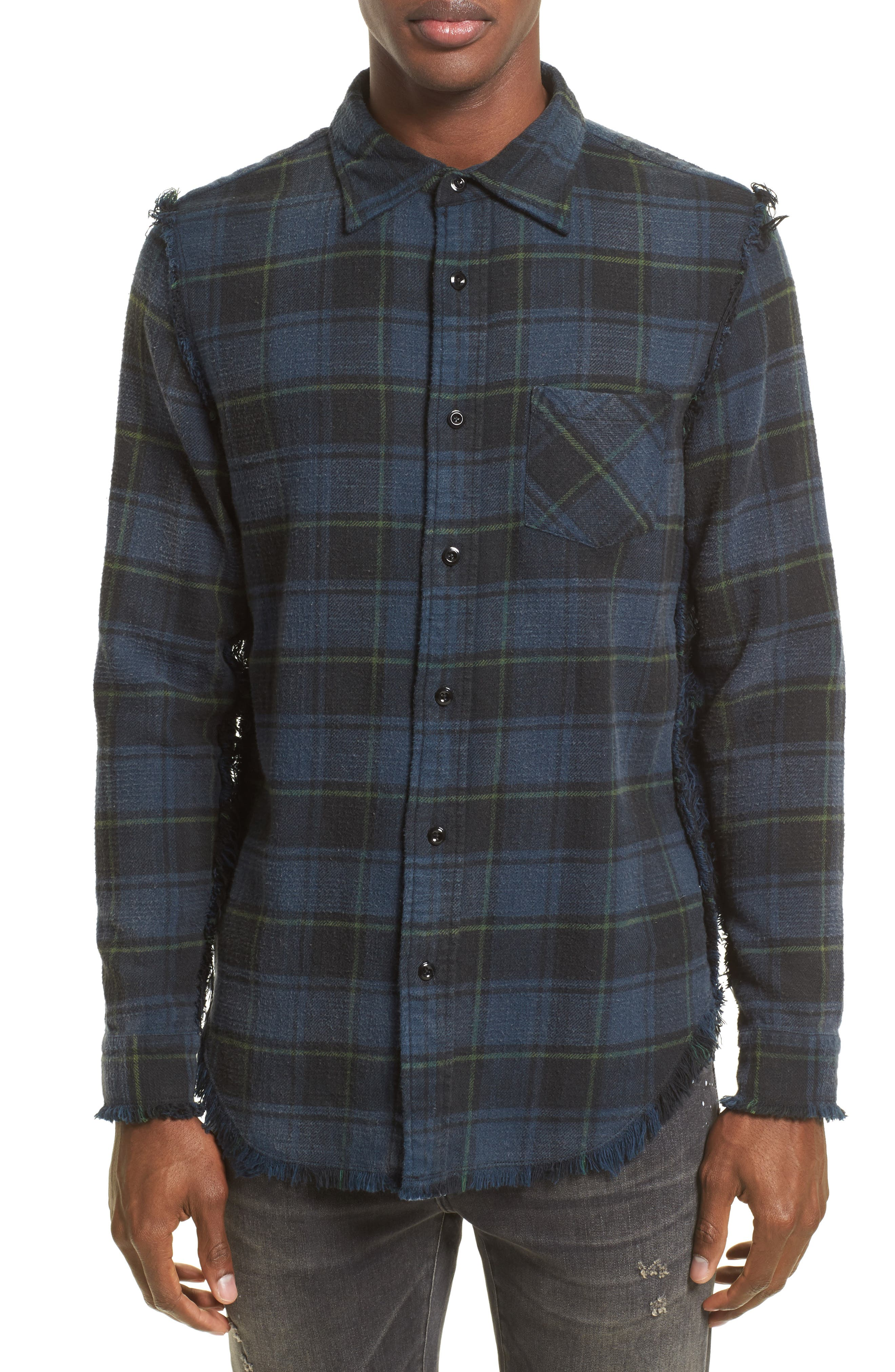 R13 Raw-Edge Plaid Flannel Sport Shirt