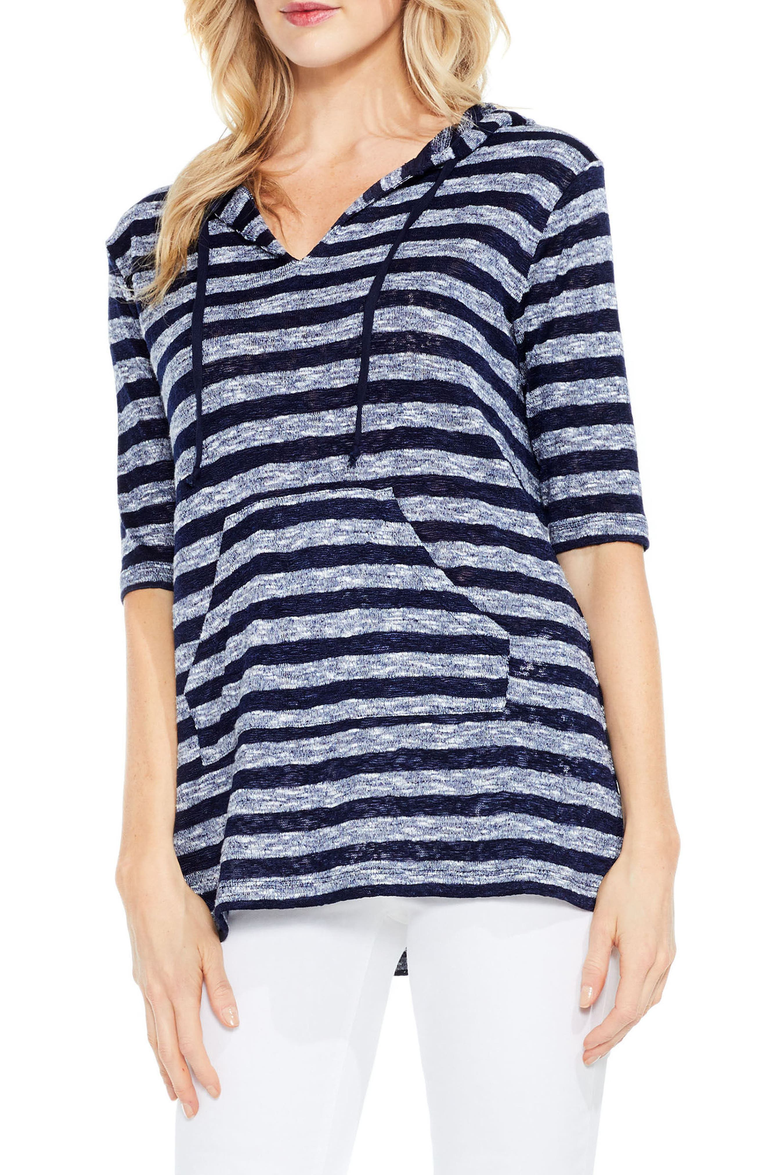 Two by Vince Camuto Uneven Stripe Hoodie