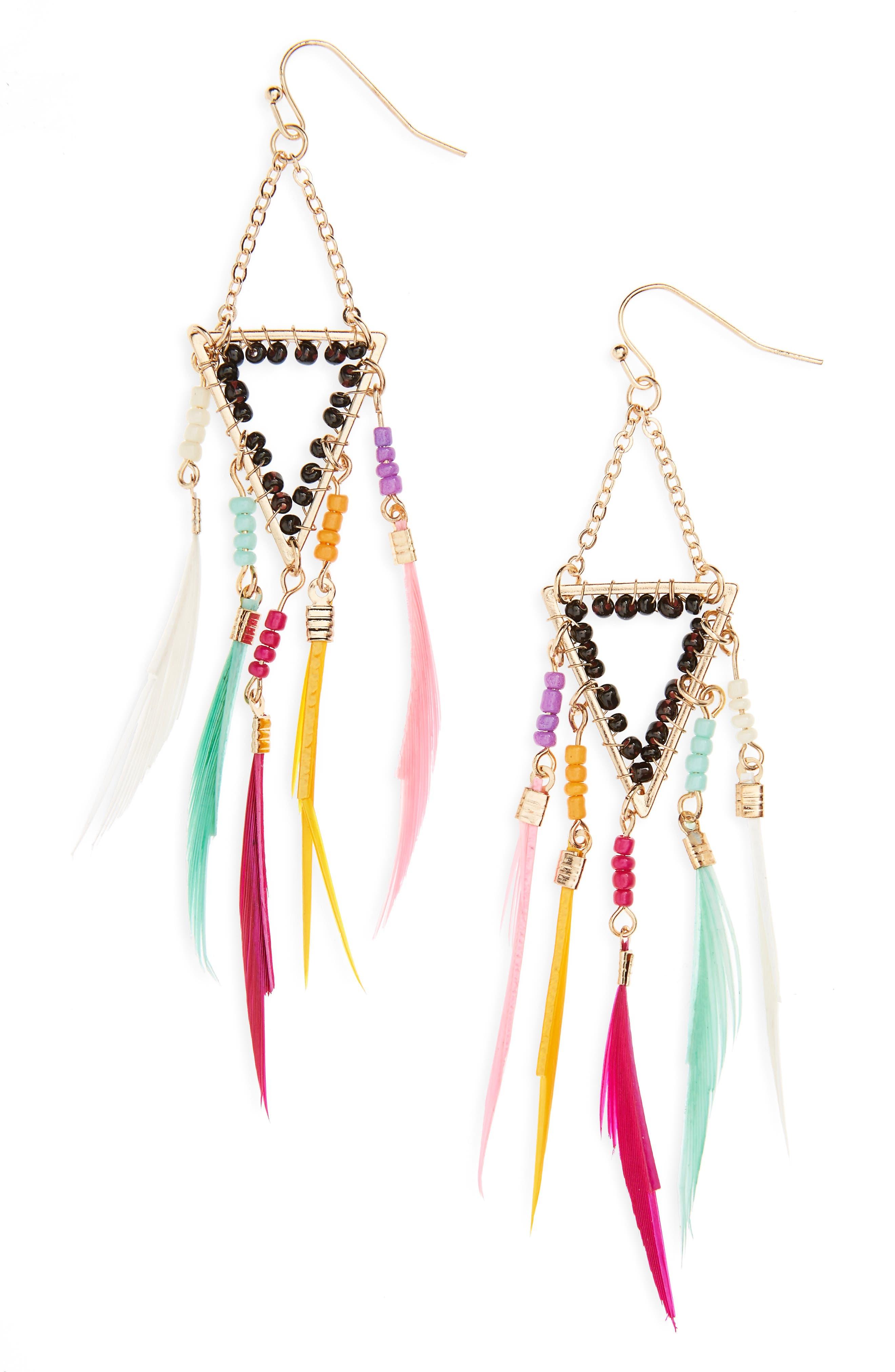 Panacea Crystal Feather Shoulder Duster Earrings