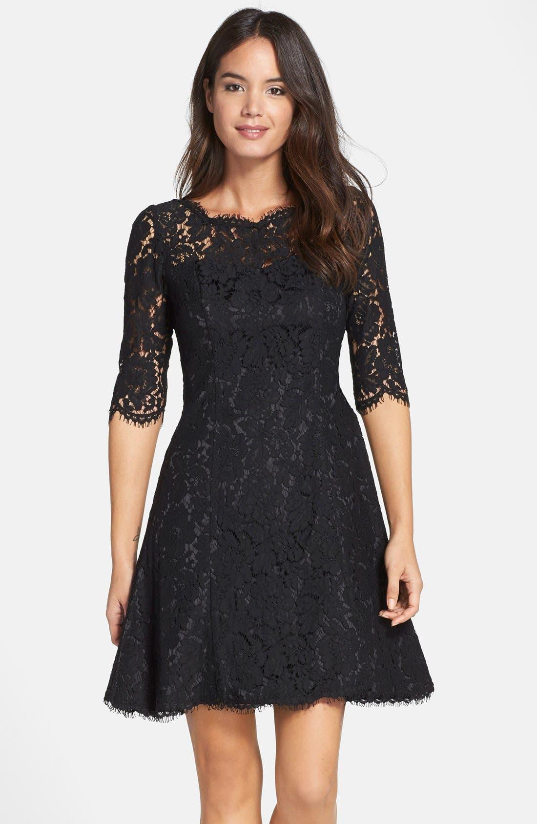 Alternate Image 1  - Eliza J Lace Fit & Flare Dress (Regular & Petite)