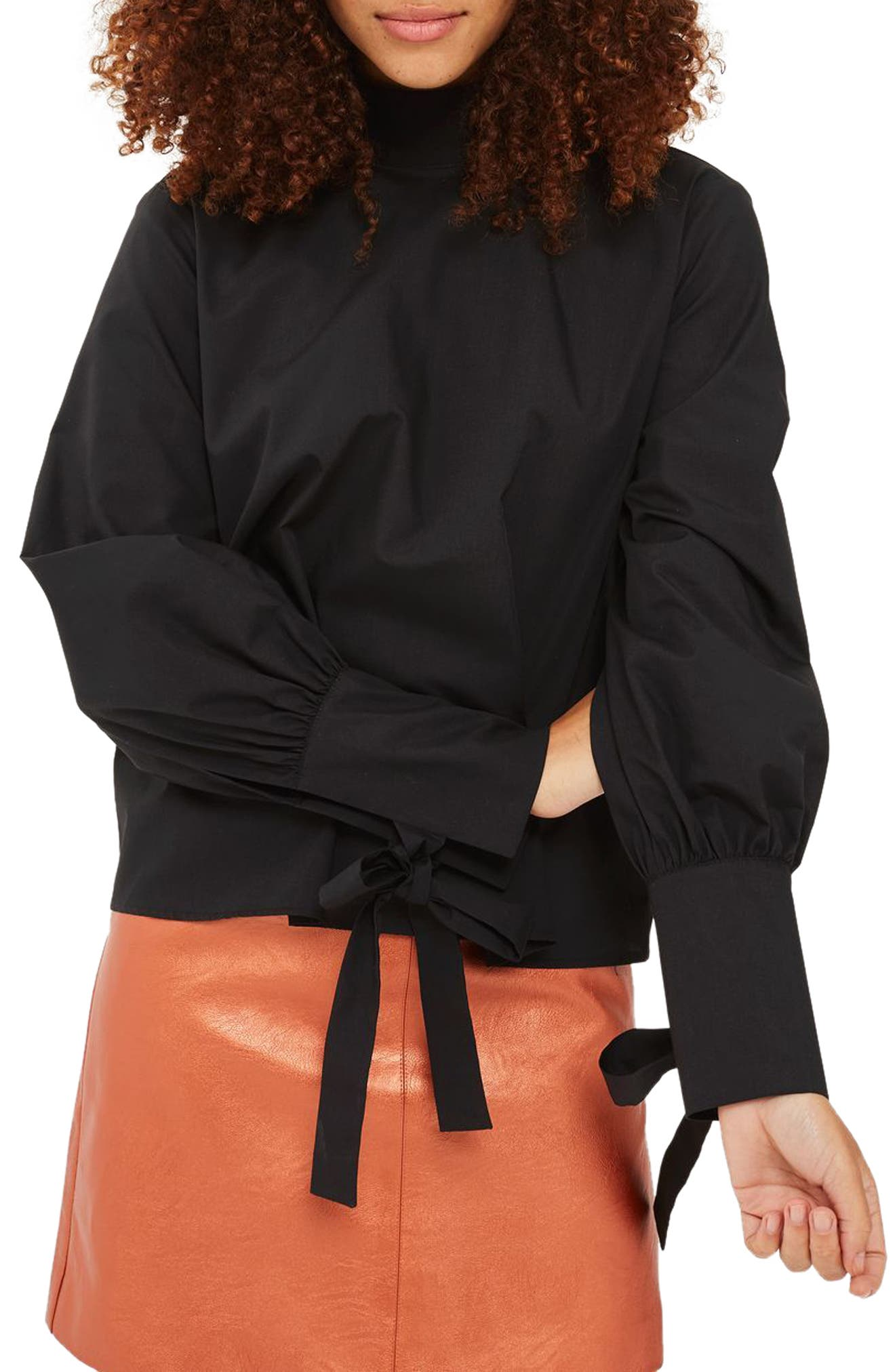 Topshop High Neck Tie Sleeve Blouse