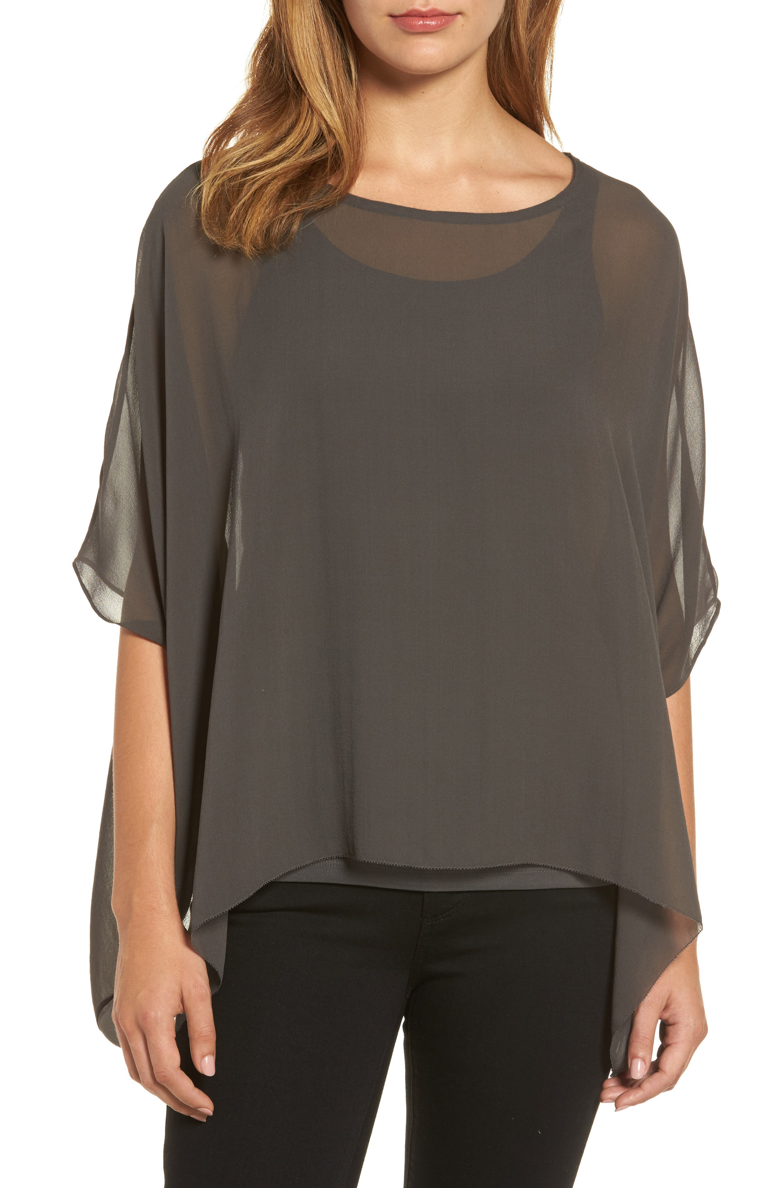 Eileen Fisher Sheer Silk Georgette Top (Regular & Petite)