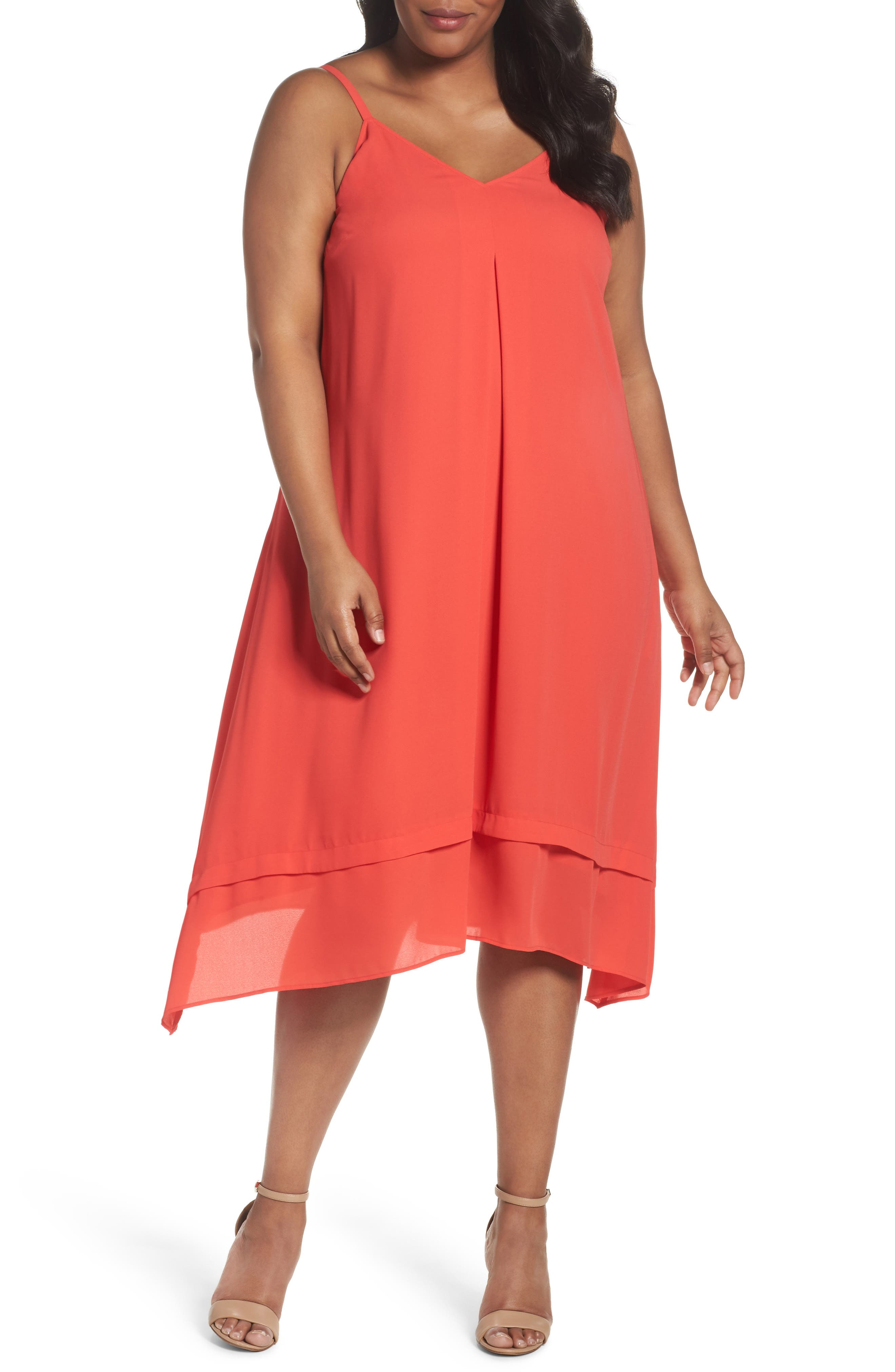 Sejour Tiered Shark Bite Hem Slipdress (Plus Size)