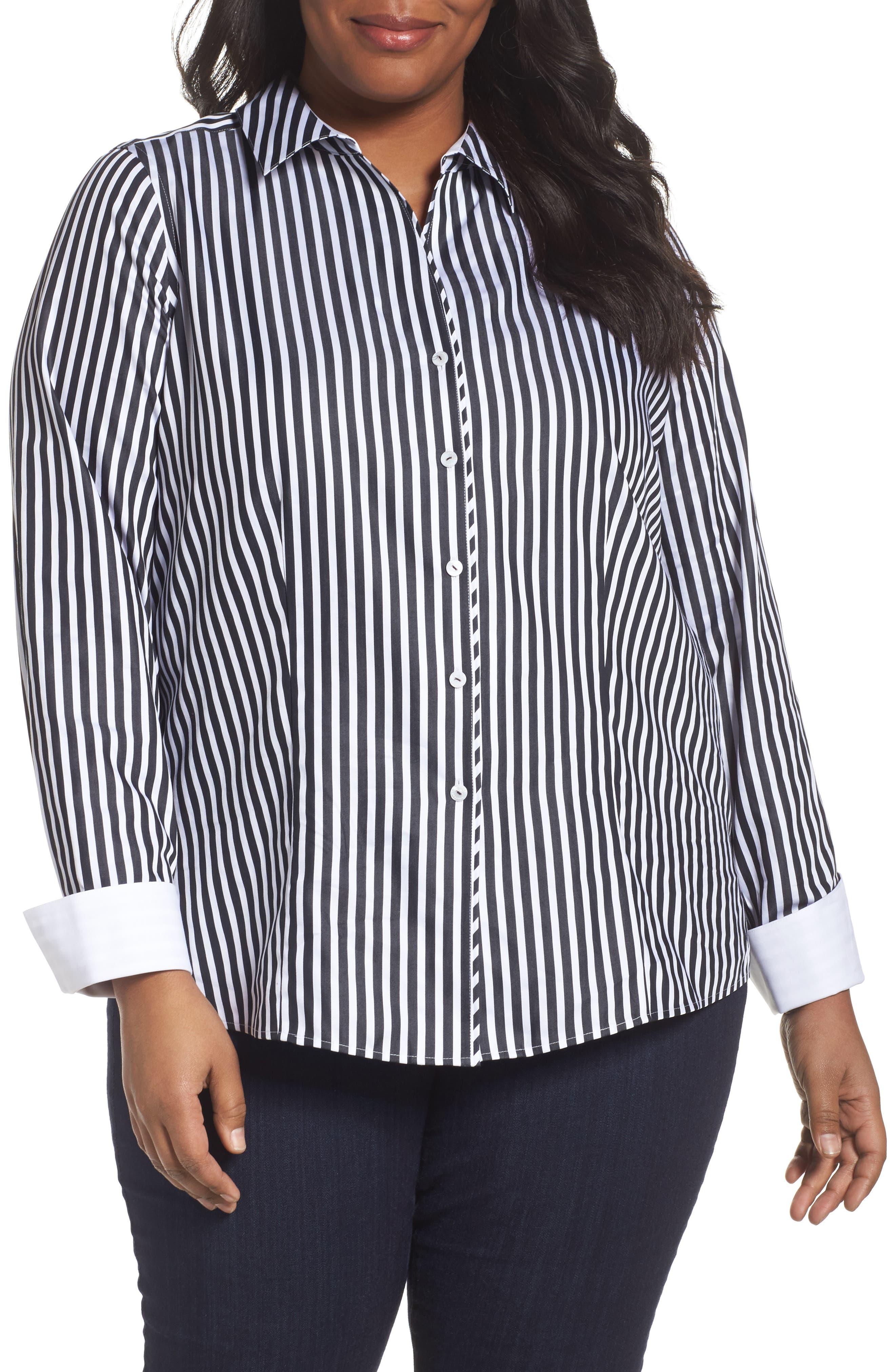 Foxcroft Lauren Sateen Stripe Shirt (Plus Size)