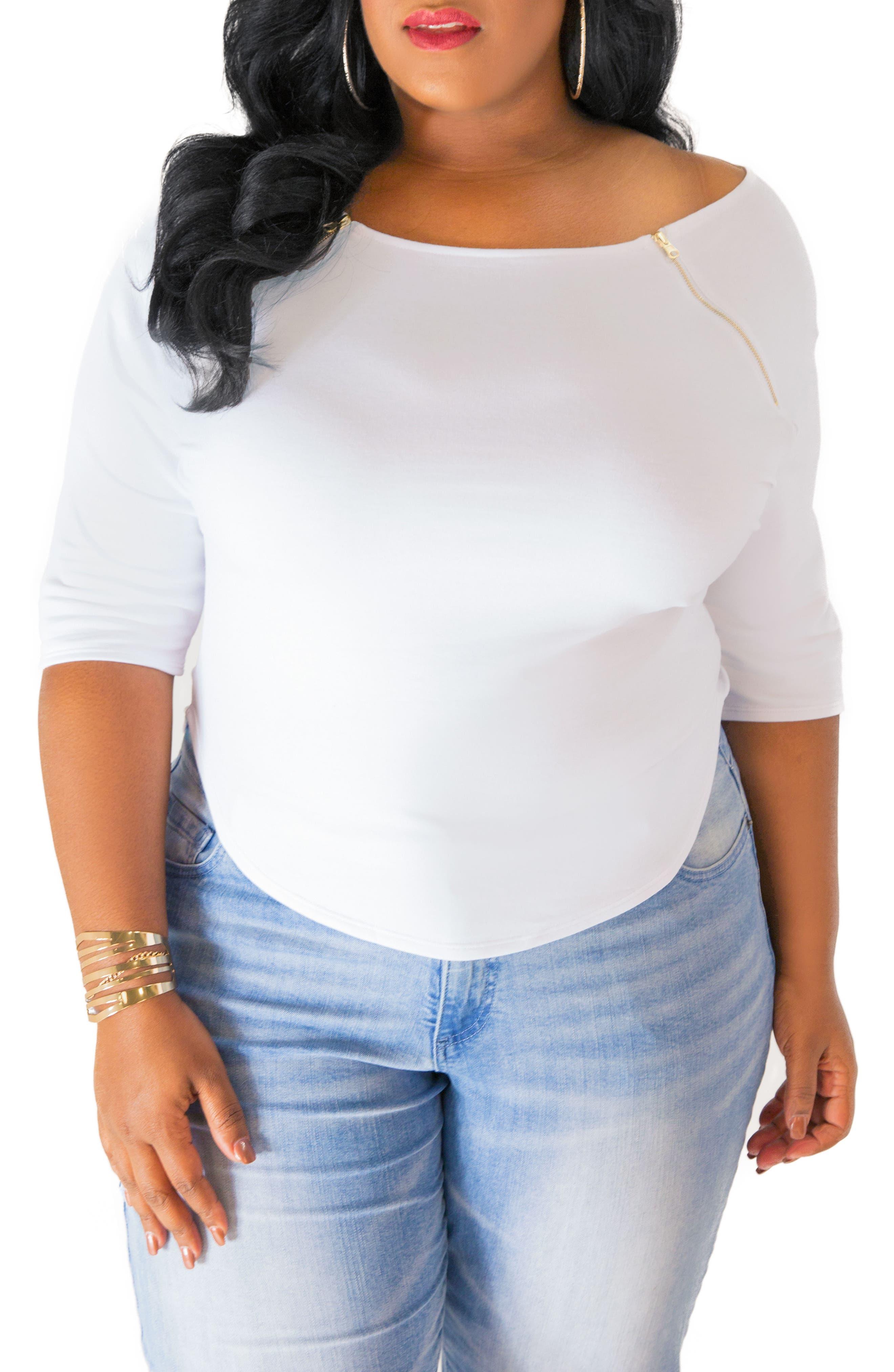 Poetic Justice Morgan Zip Shoulder Top (Plus Size)