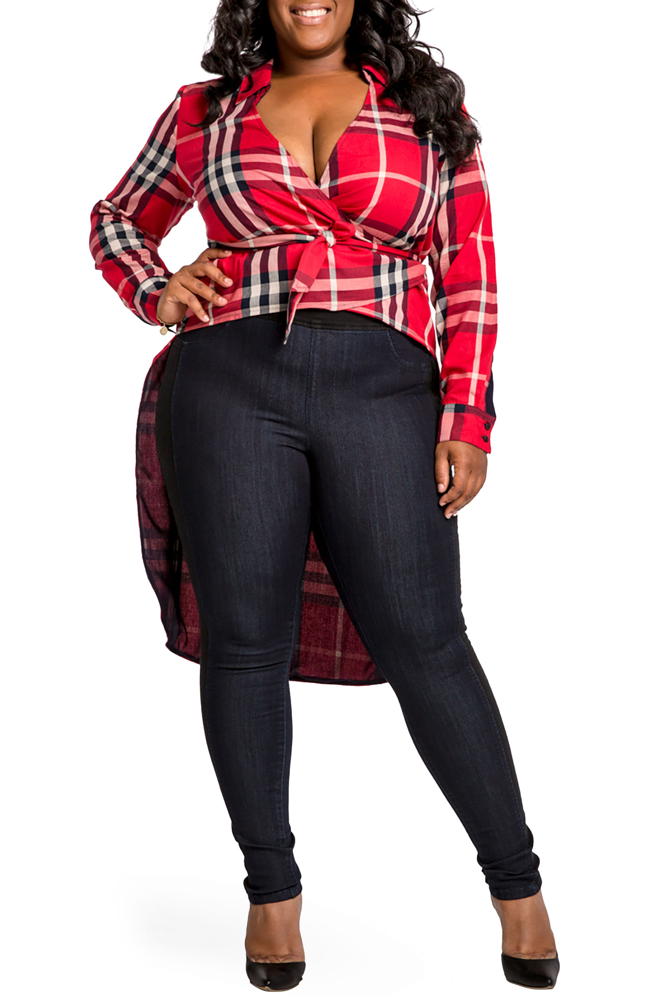Poetic Justice Tish High/Low Plaid Top (Plus Size)