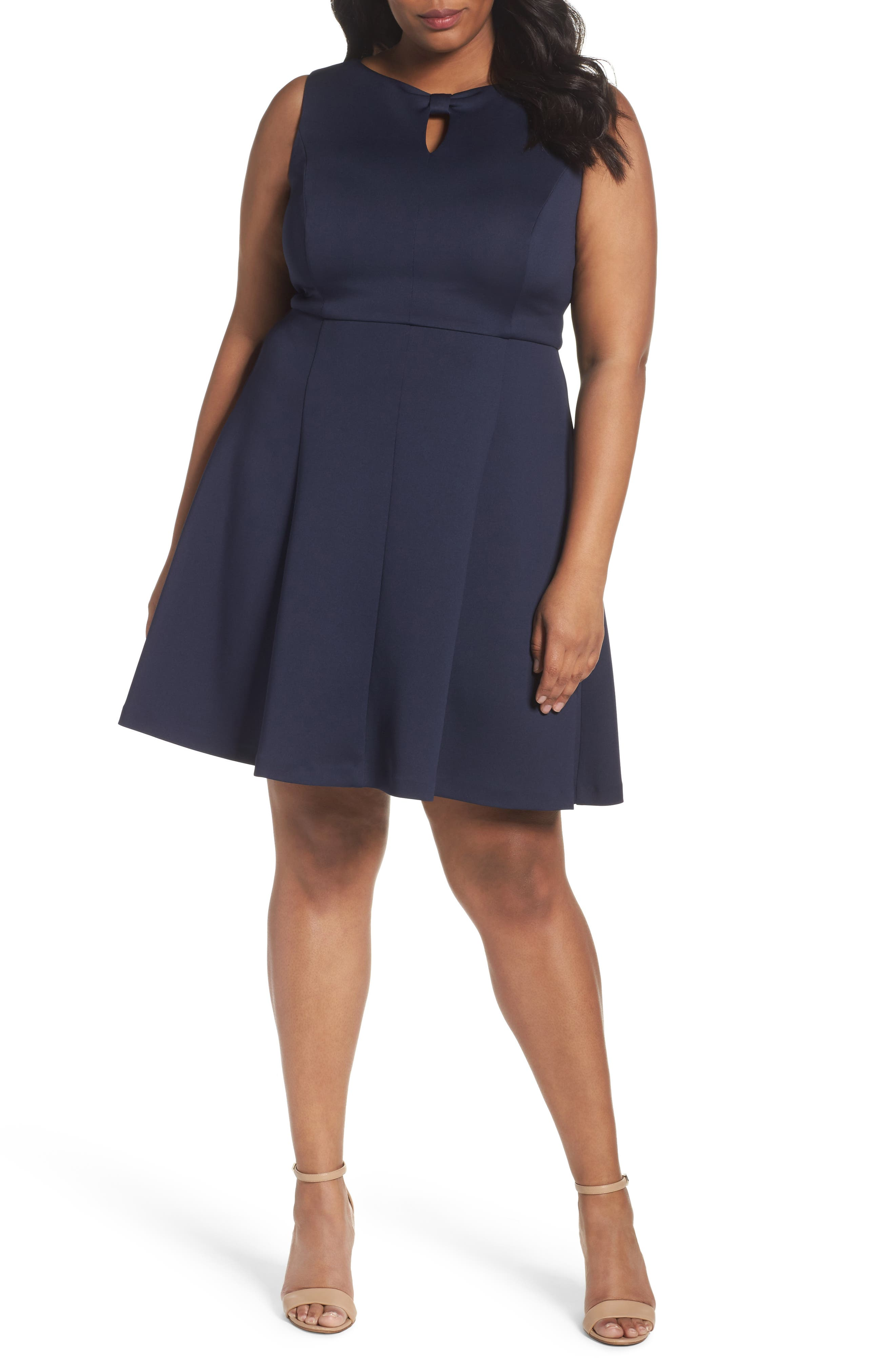 Ellen Tracy Bow Detail Fit & Flare Dress (Plus Size)