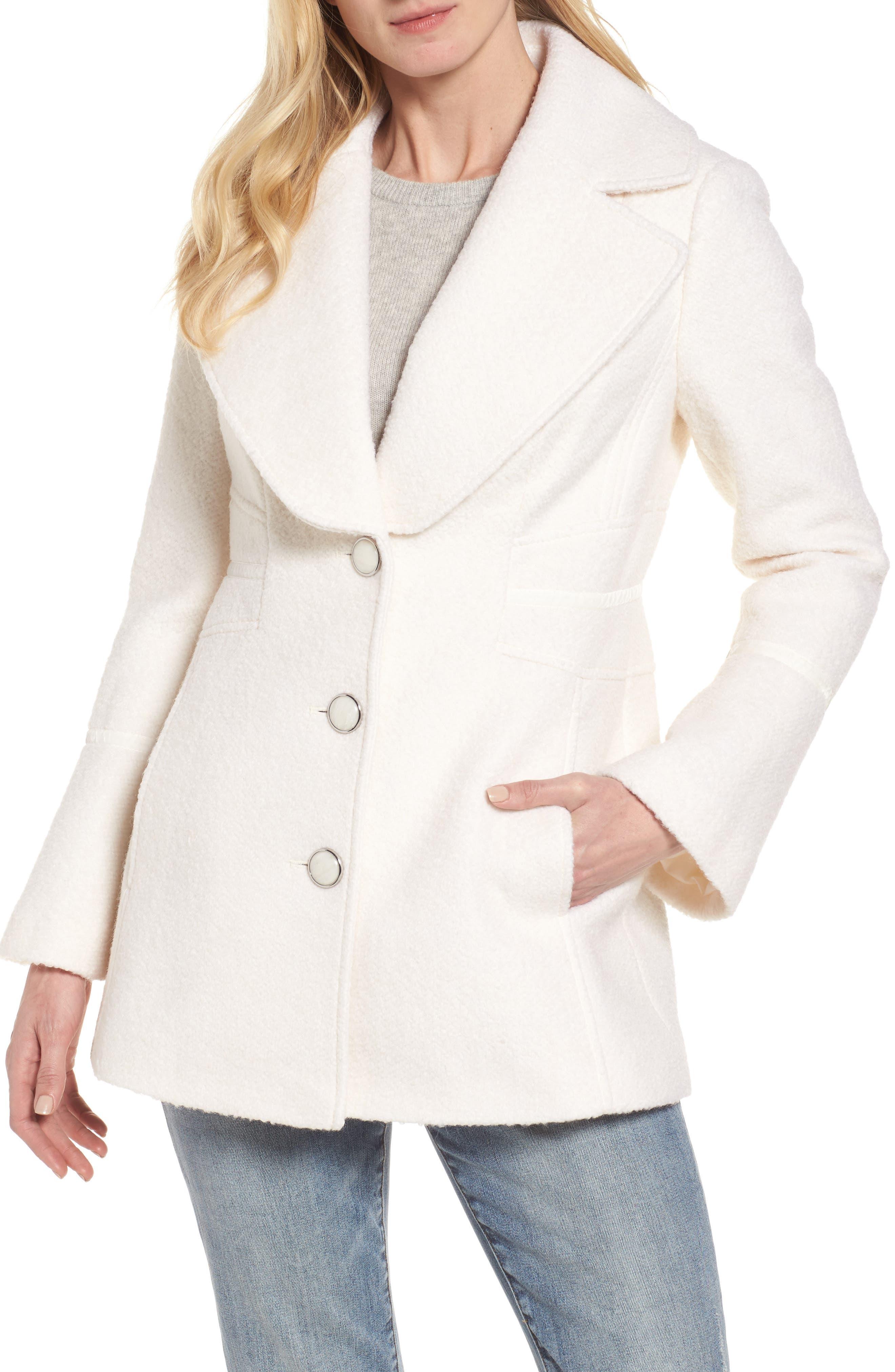 kensie Velvet Trim Bell Sleeve Coat