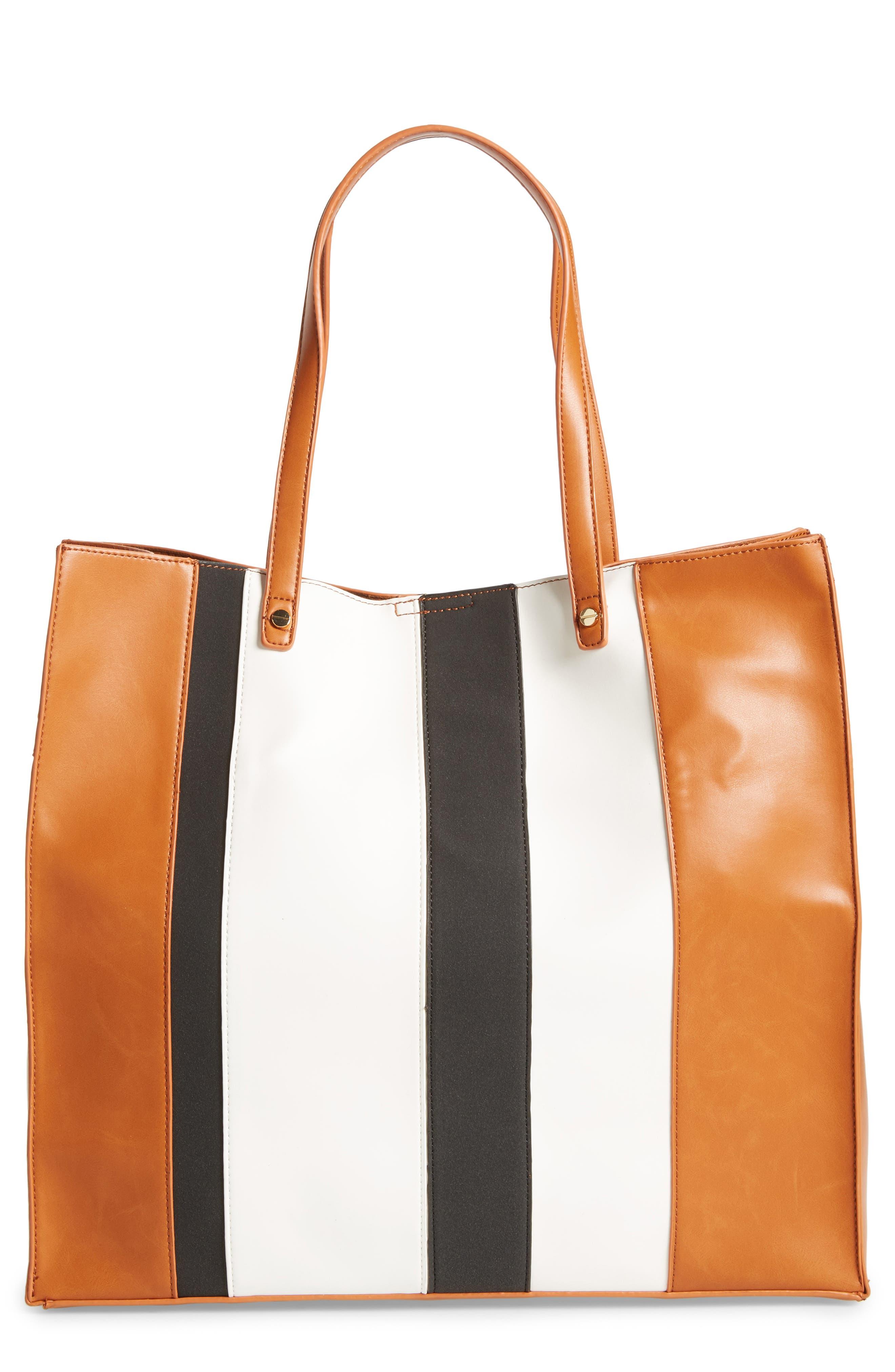 BP. Stripe Faux Leather Tote