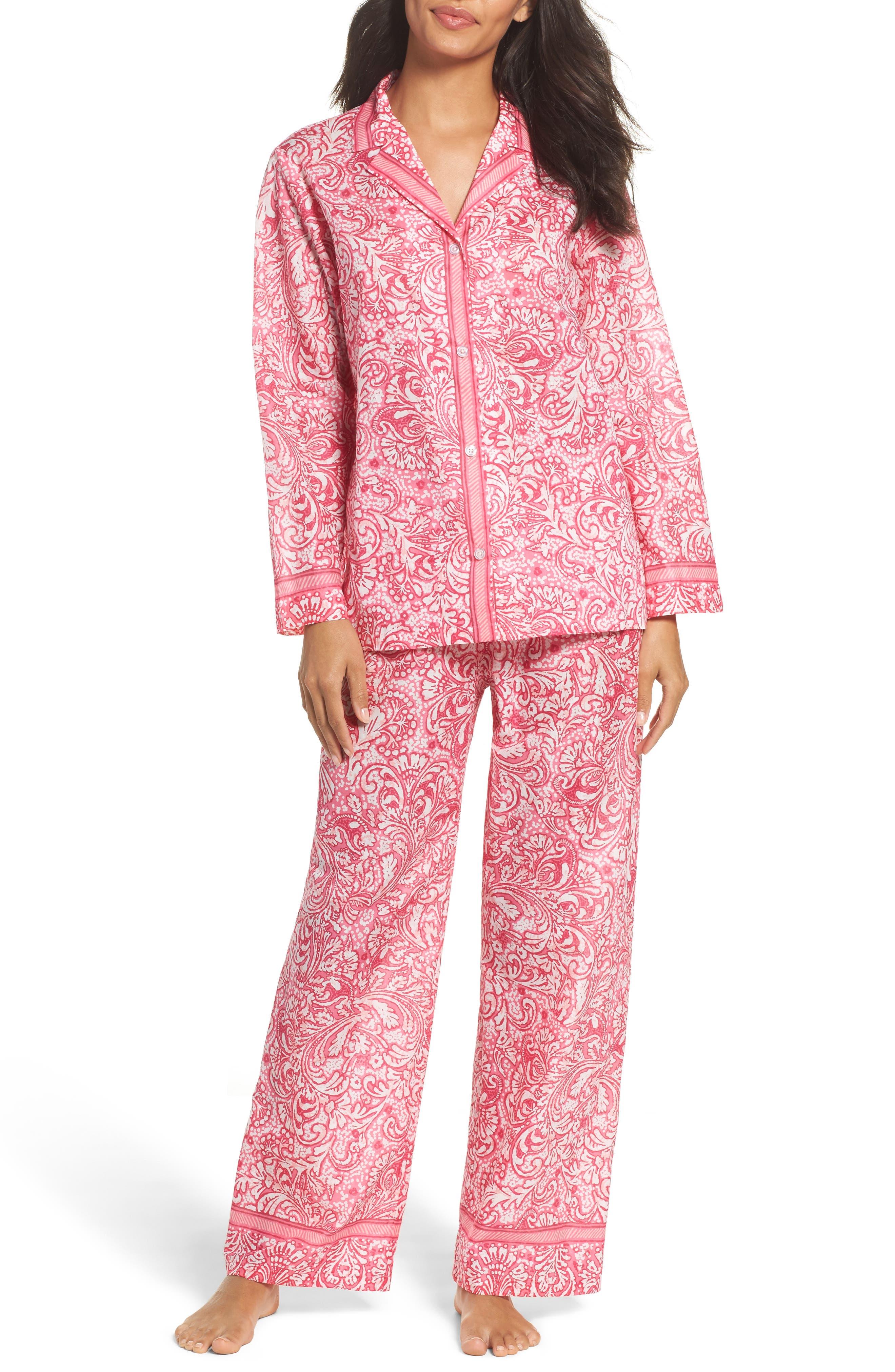 Oscar de la Renta Paisley Cotton Pajamas