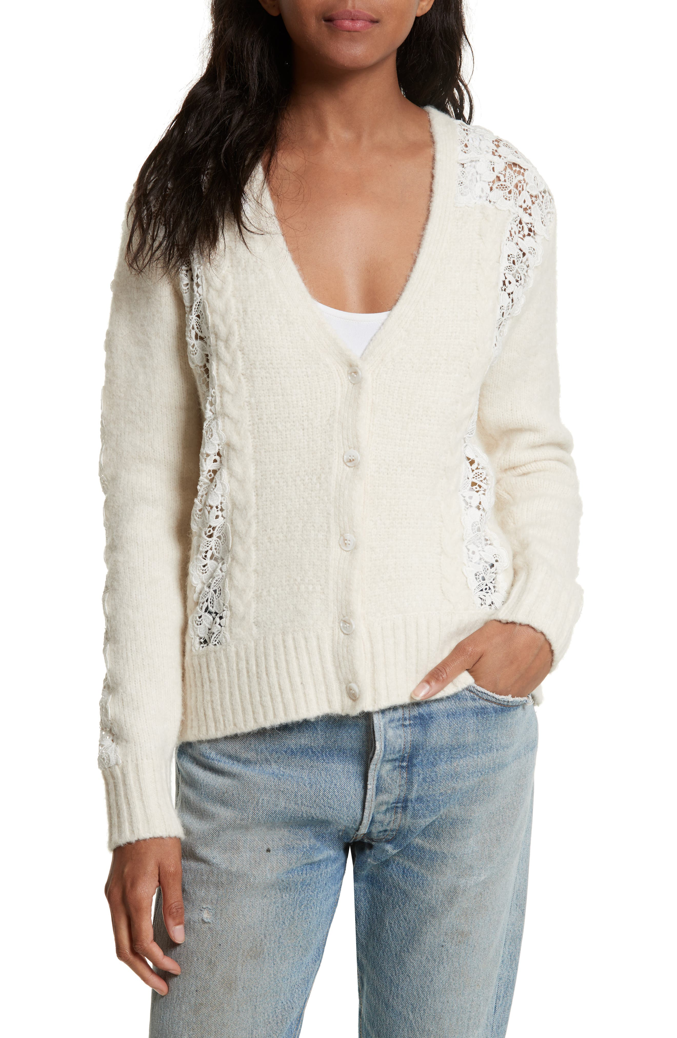 Sea Lace Lace Inset Cardigan