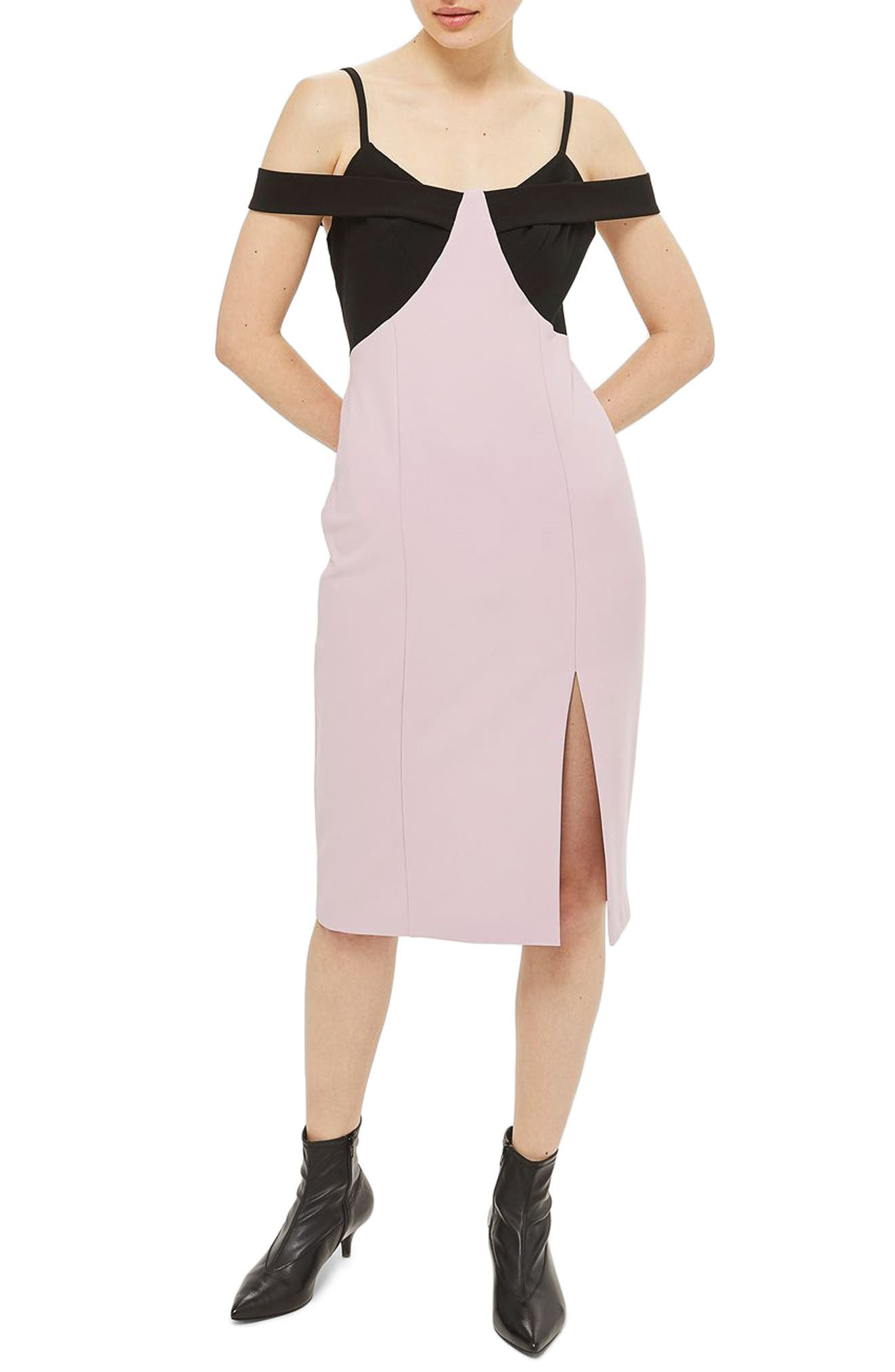 Topshop Colorblock Midi Dress (Petite)