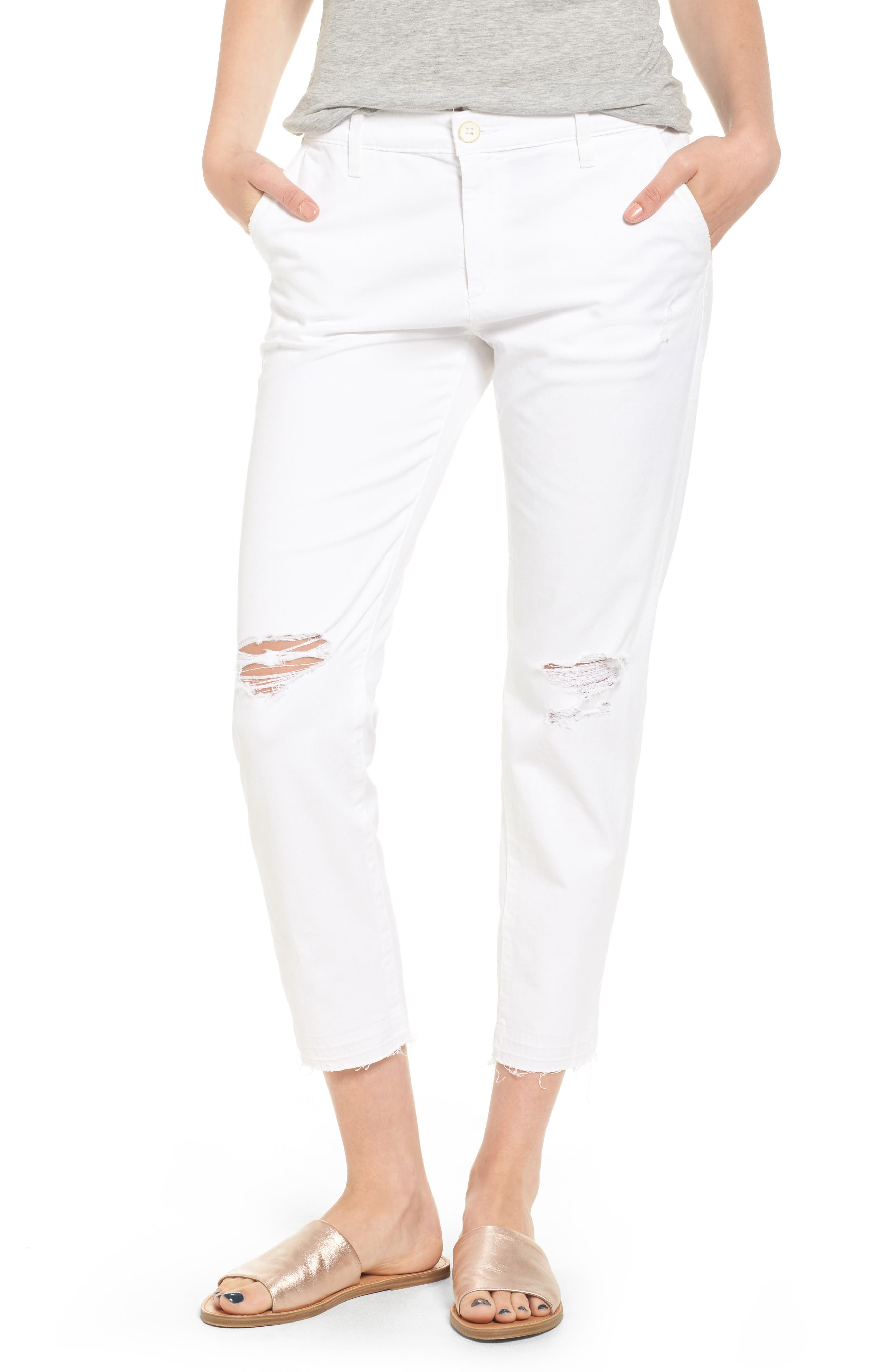 AG The Tristan High Rise Ripped Trousers