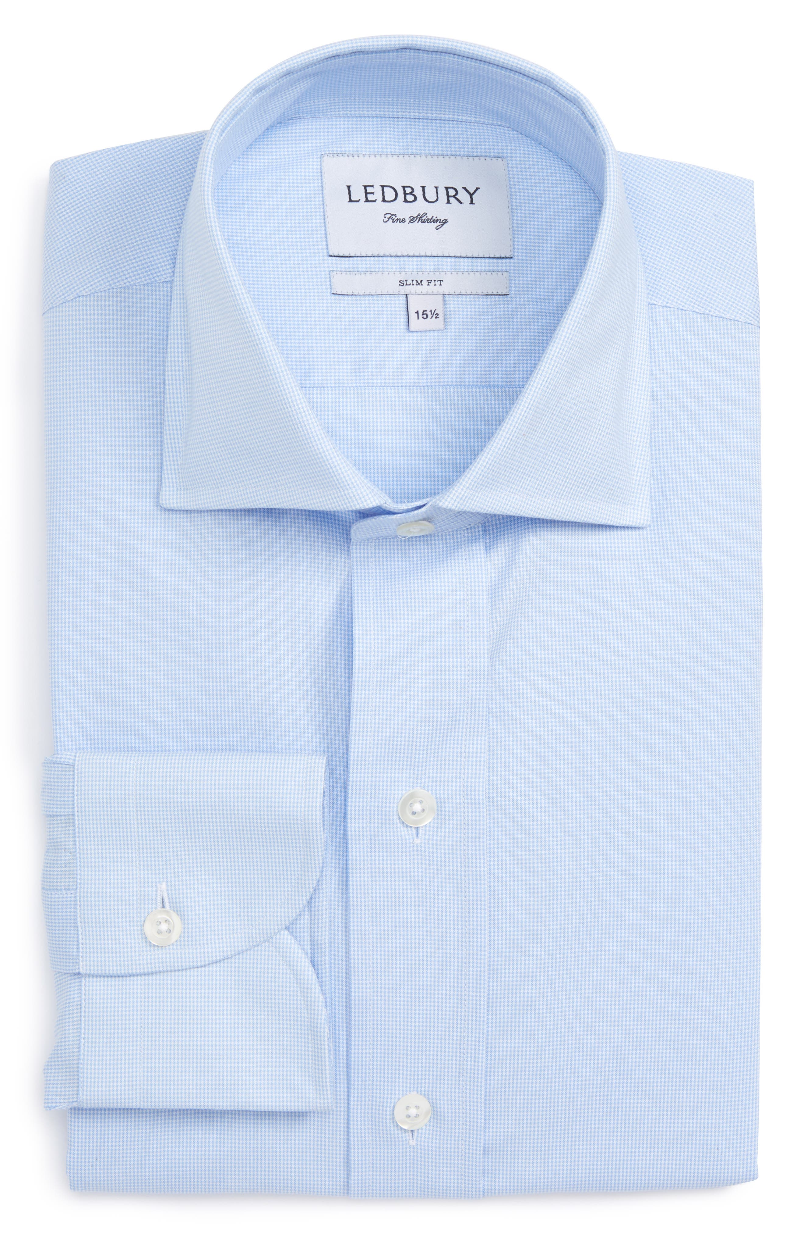 Ledbury Slim Fit Houndstooth Dress Shirt