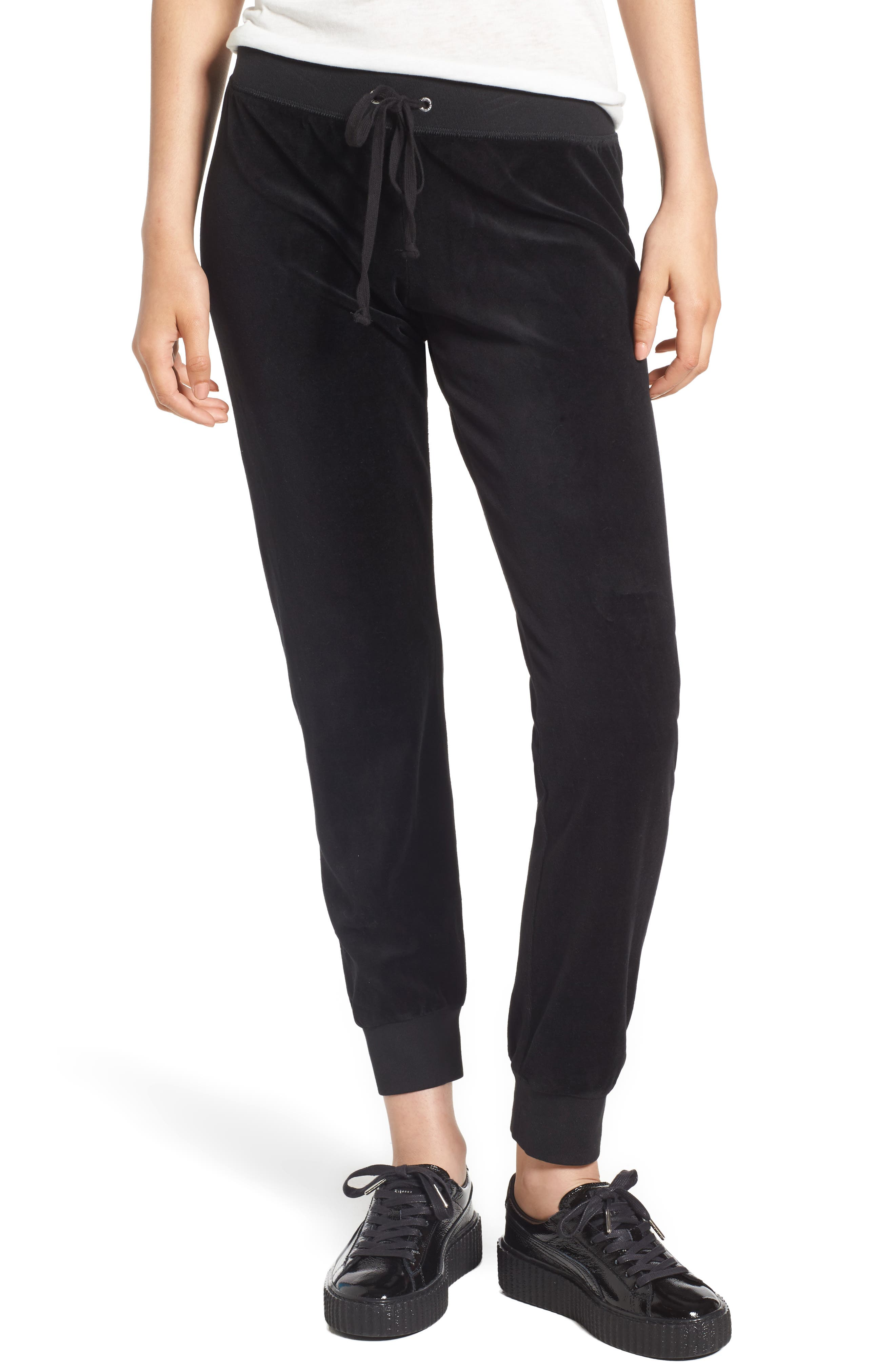 Juicy Couture Gothic Crystals Embellished Velour Pants