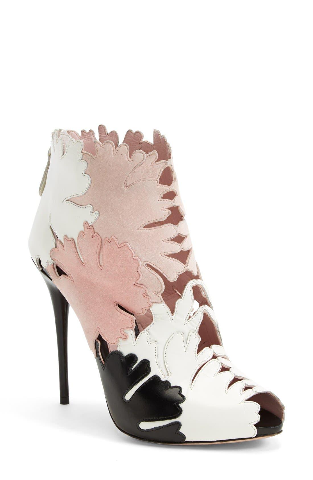 Alternate Image 1 Selected - Alexander McQueen 'Kimono' Cutout Leather Bootie (Women)