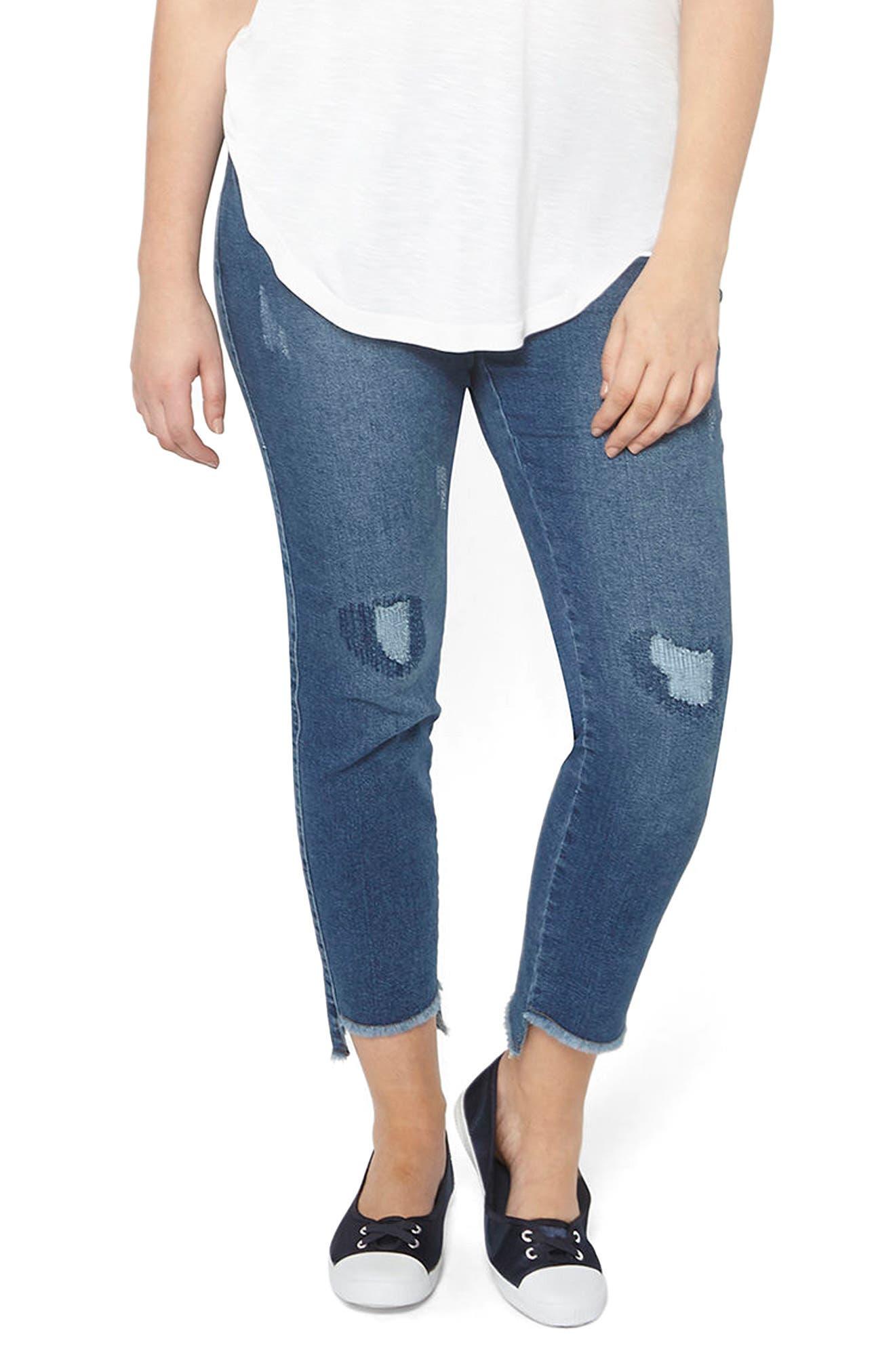 Evans Frayed Step Hem Skinny Jeans (Plus Size)