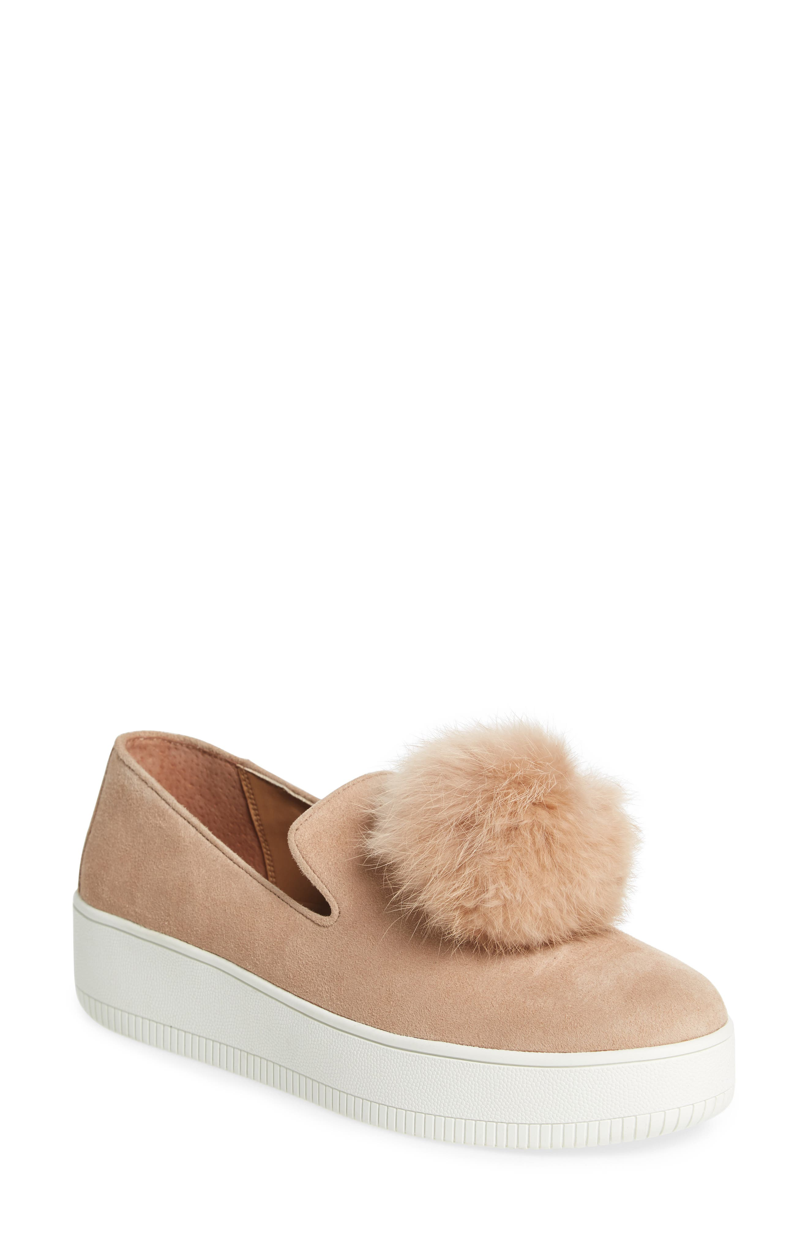 Linea Paolo Sammy Platform Sneaker with Genuine Rabbit Fur Pompom (Women)