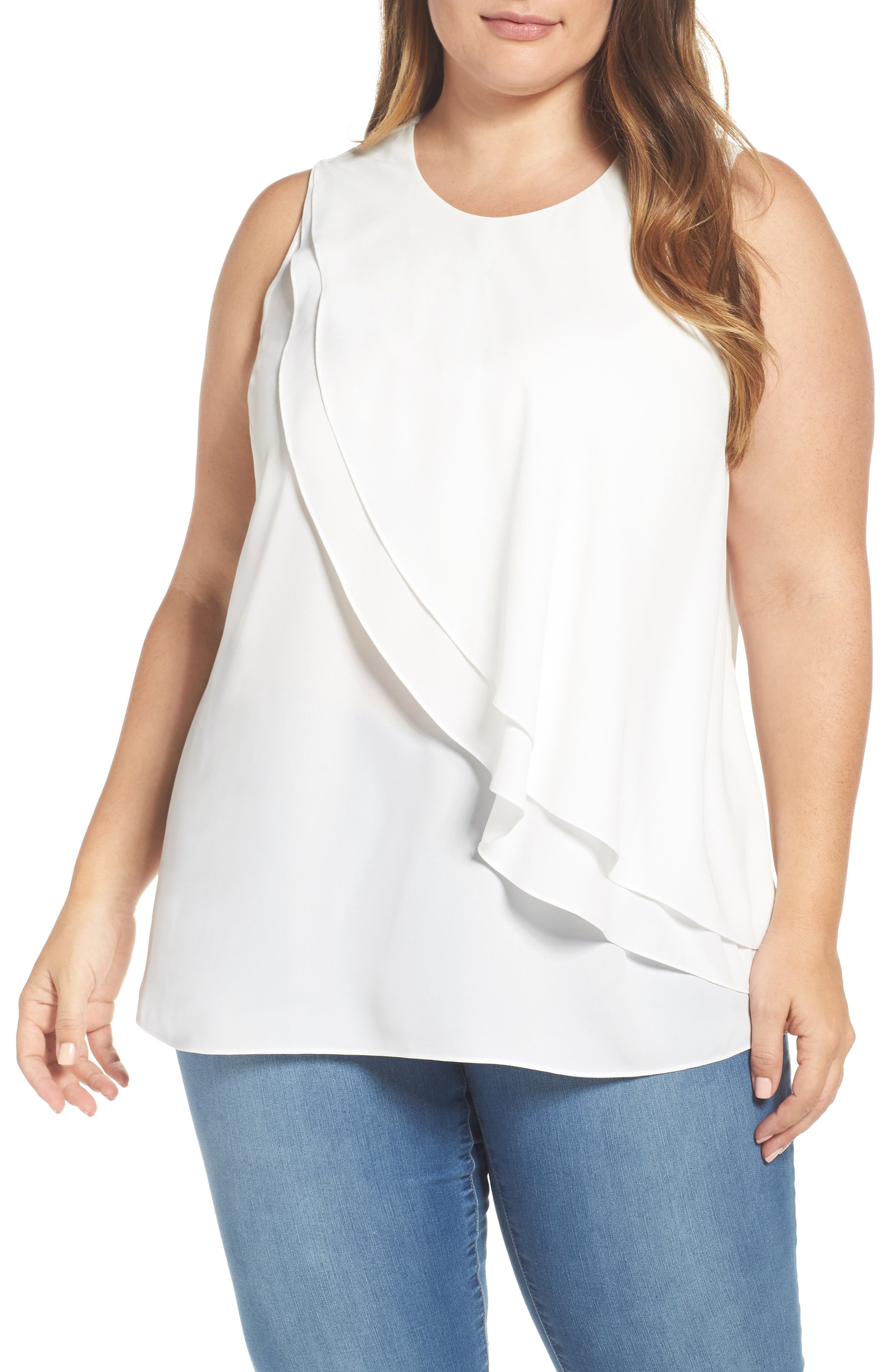 Vince Camuto Tiered Ruffle Front Blouse (Plus Size)