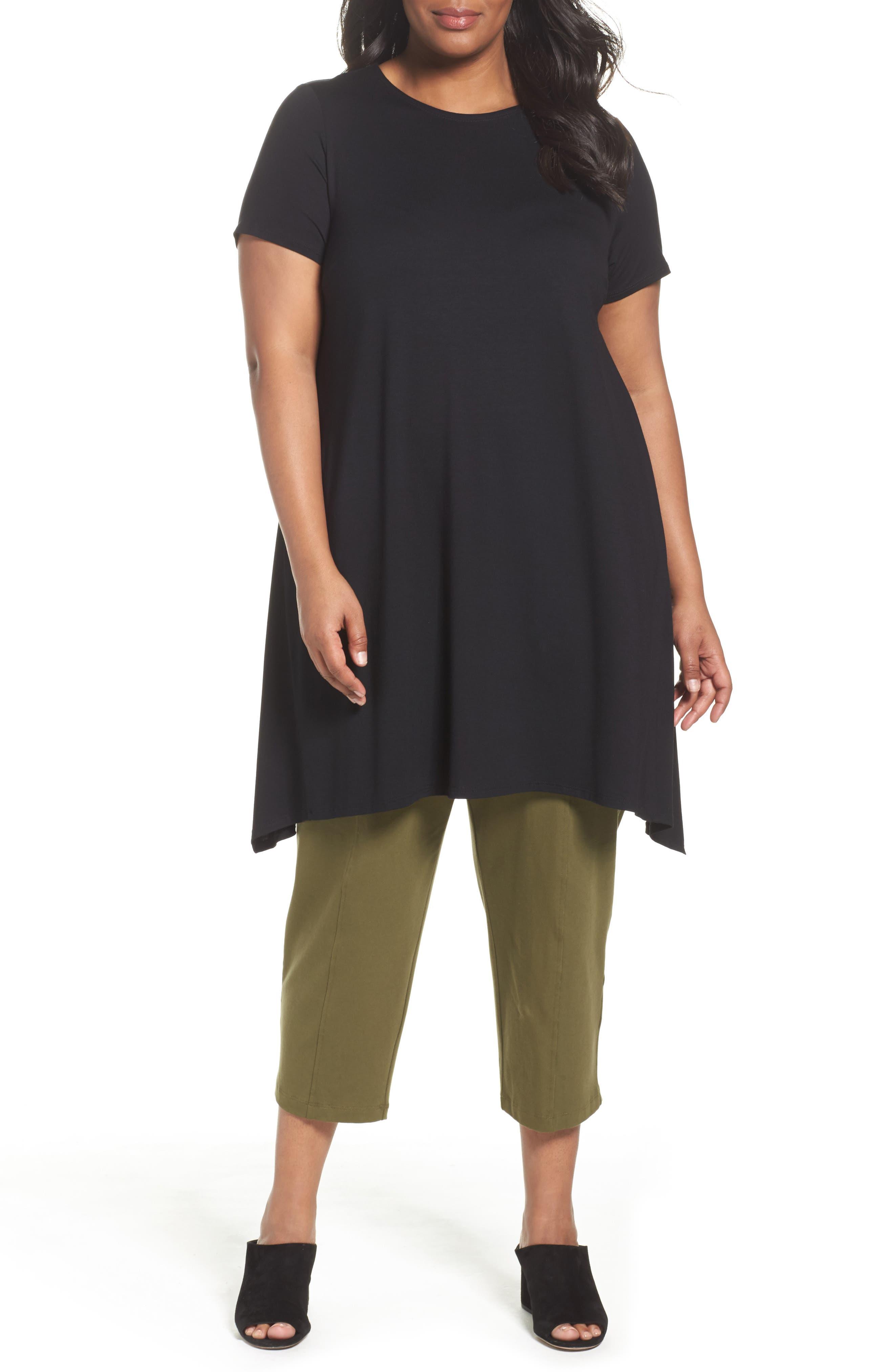 Eileen Fisher Shark Bite Hem Jersey Tunic (Plus Size)